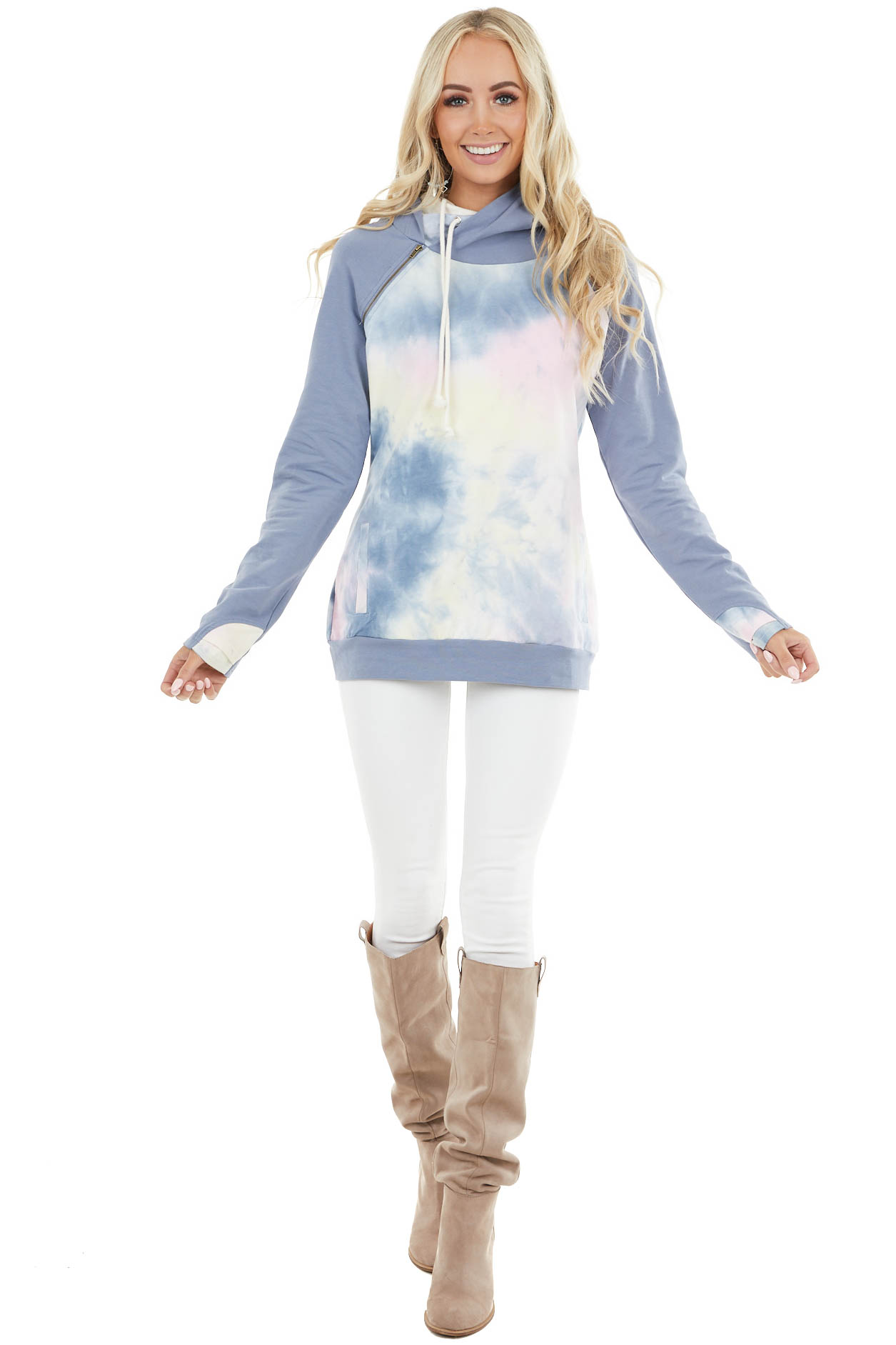 Slate Blue Hoodie with Tie Dye Contrast and Front Pockets