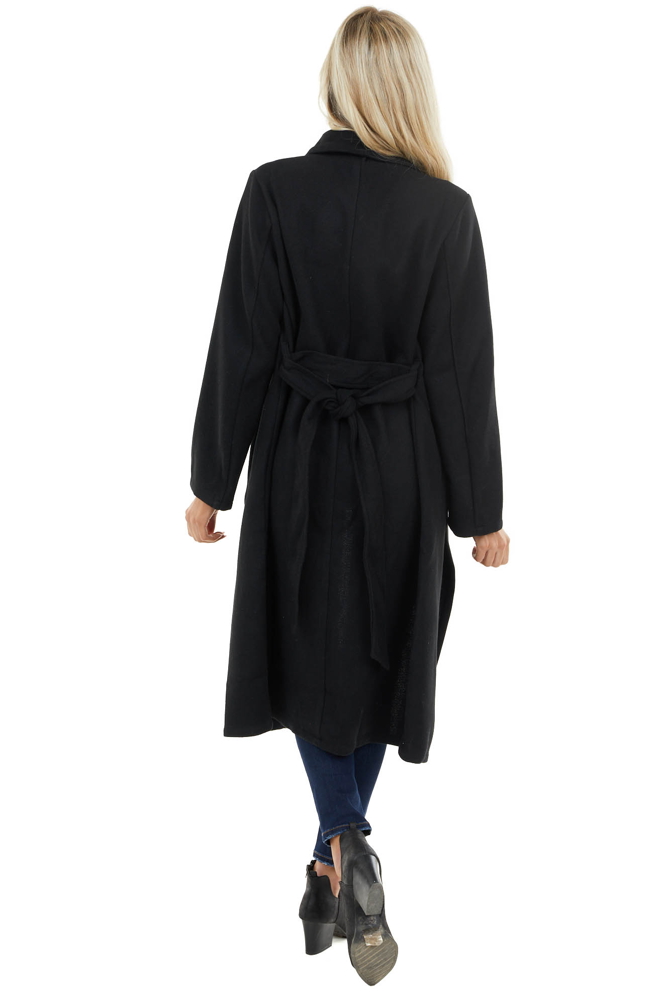 Black Heavy Knit Trench Coat with Waist Tie Detail