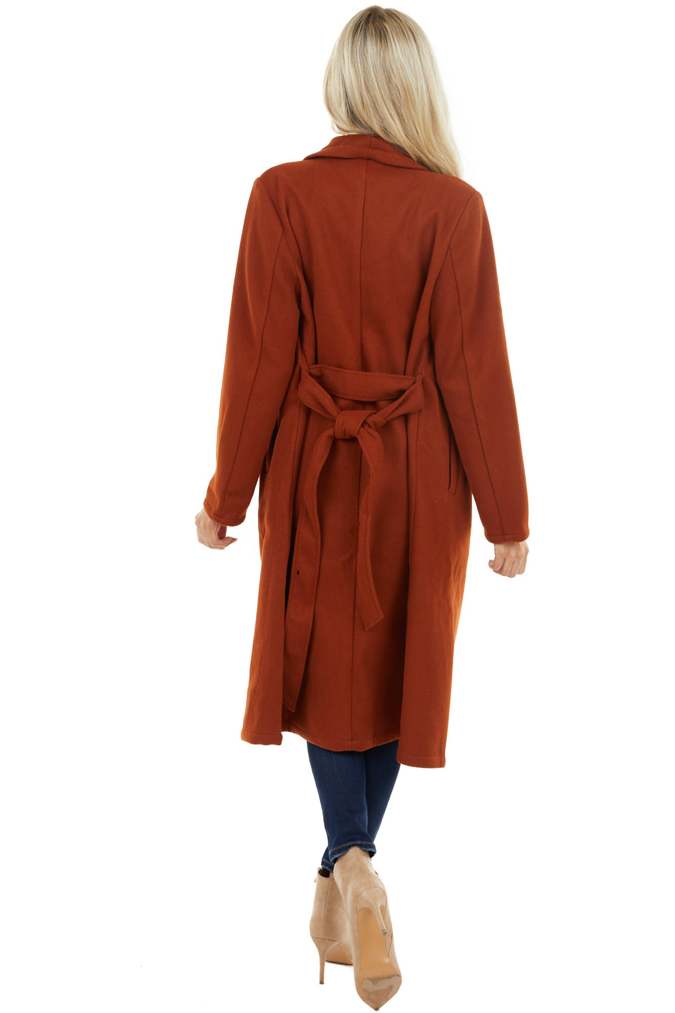 Brick Red Heavy Knit Trench Coat with Waist Tie Detail