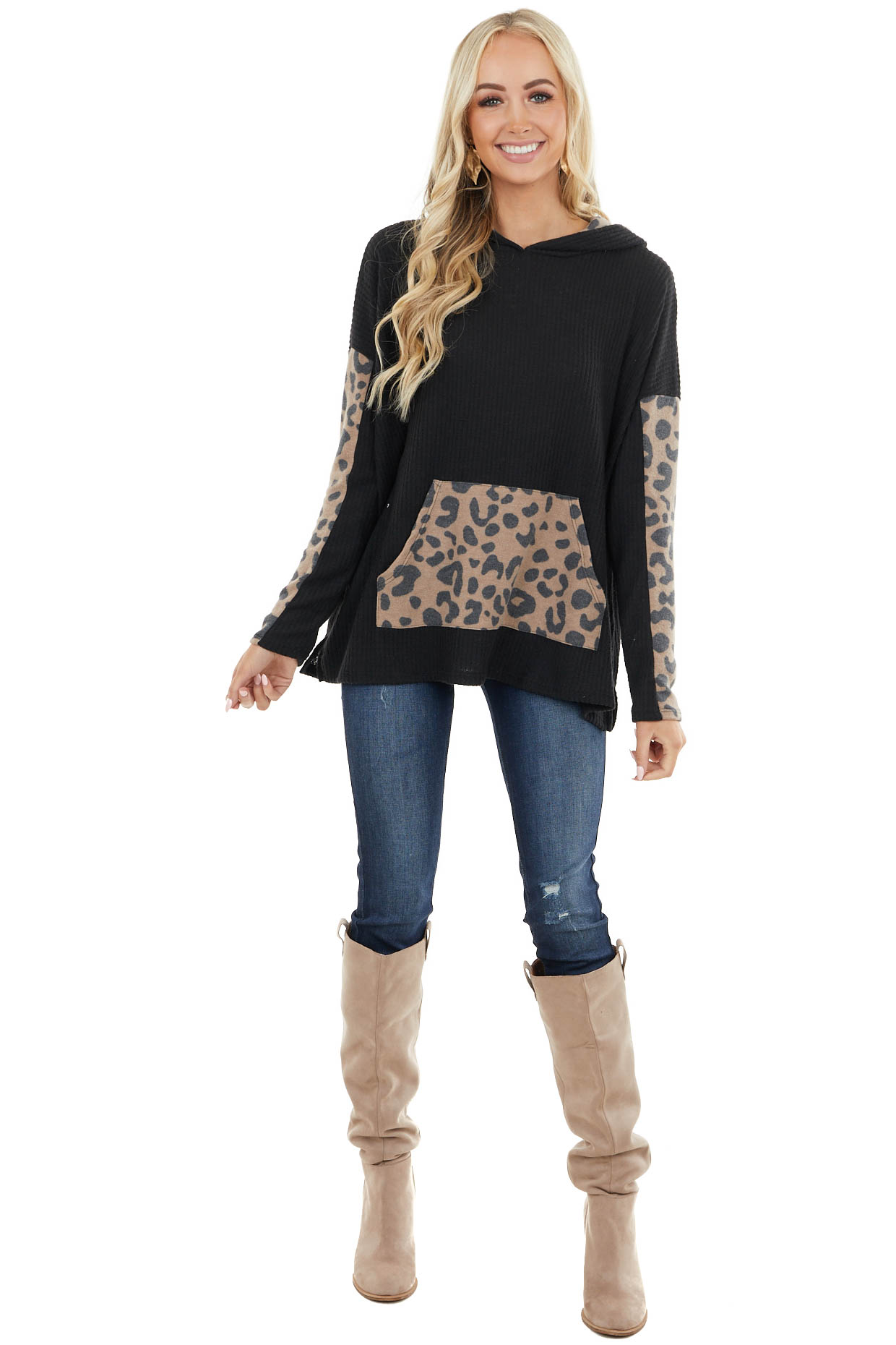 Black Waffle Knit Hoodie with Leopard Print Contrast