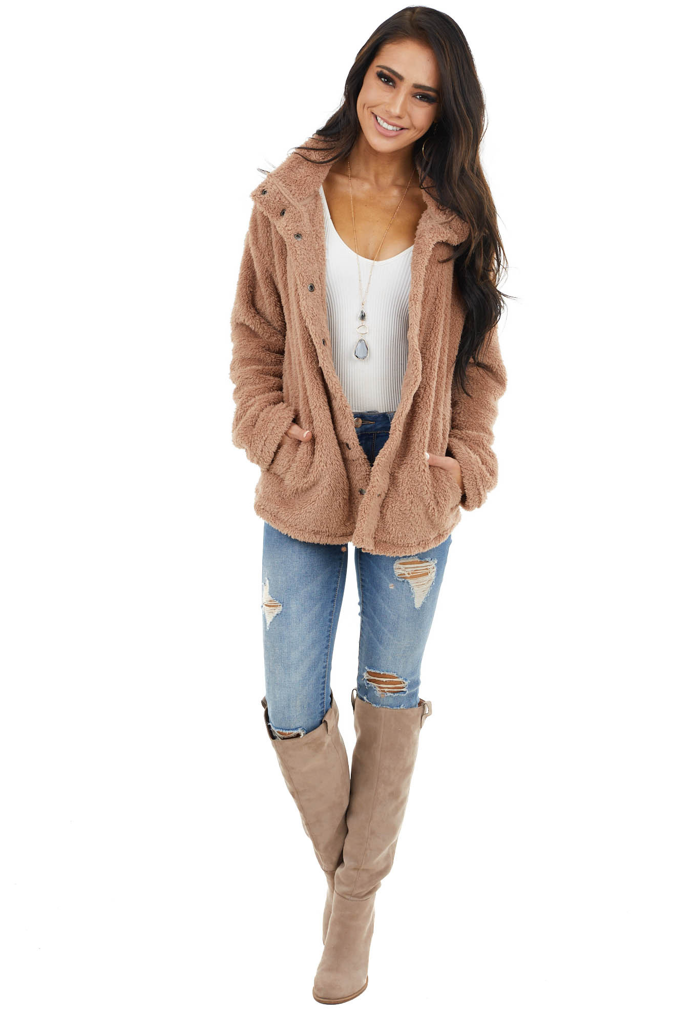 Latte Soft Faux Fur Long Sleeve Jacket with Button Detail