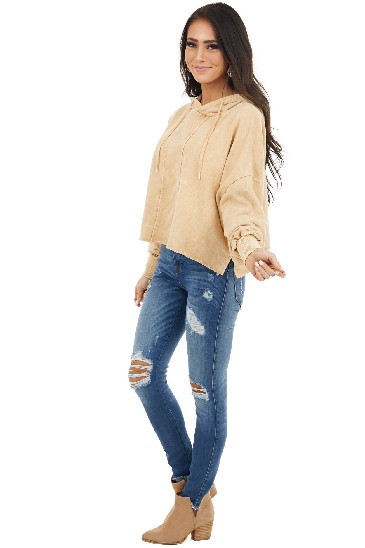 Amber Mineral Wash Cropped Hoodie with Front Seam Details