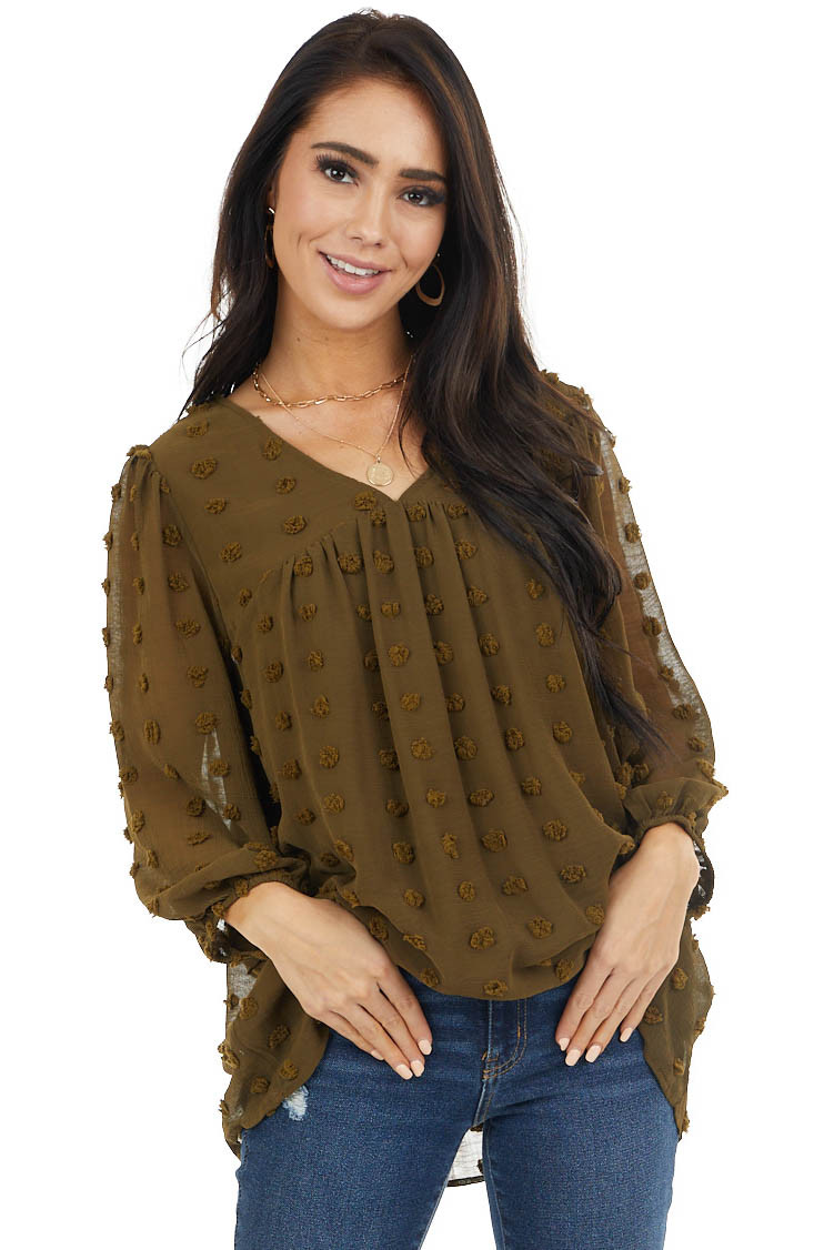 Olive Swiss Dot Babydoll Top with Long Bubble Sleeves
