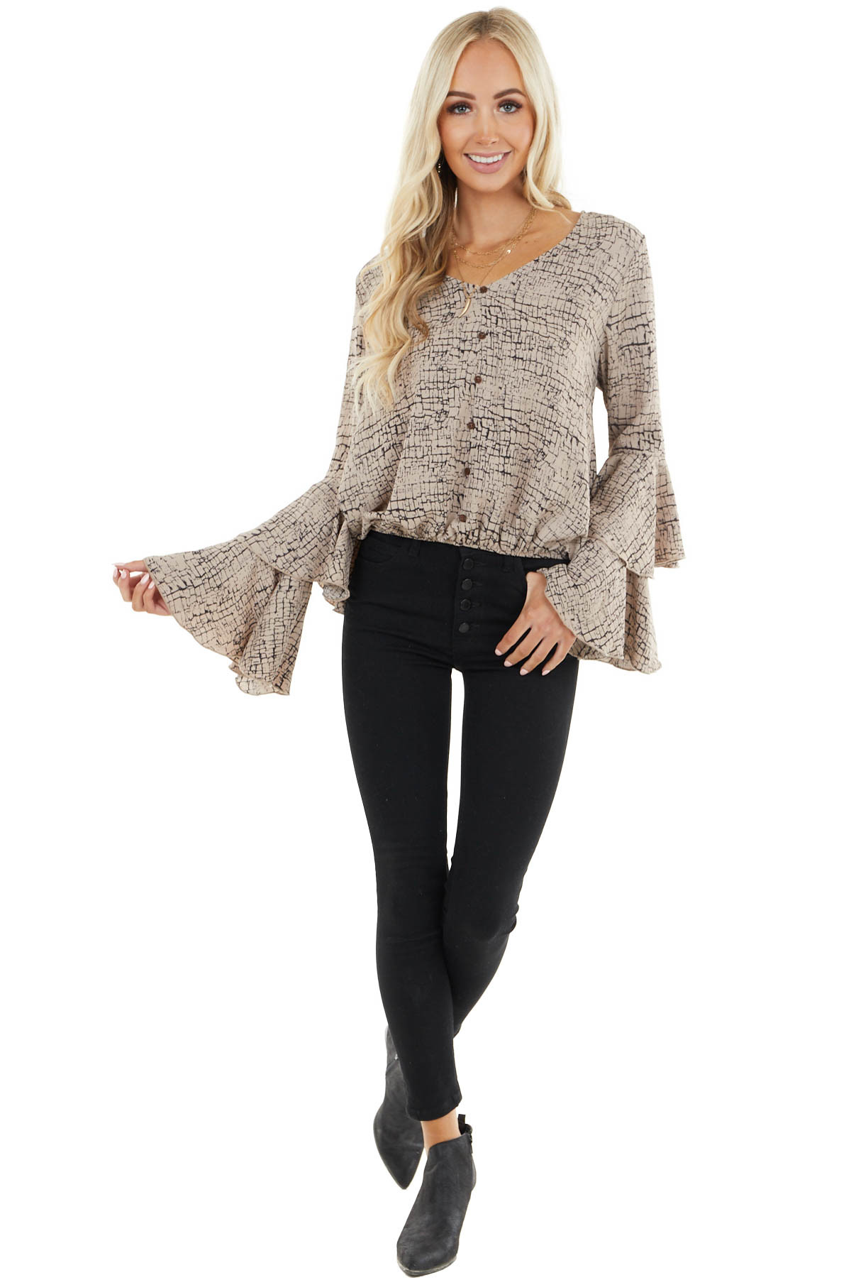 Latte Abstract Print Top with Tiered Flare Long Sleeves