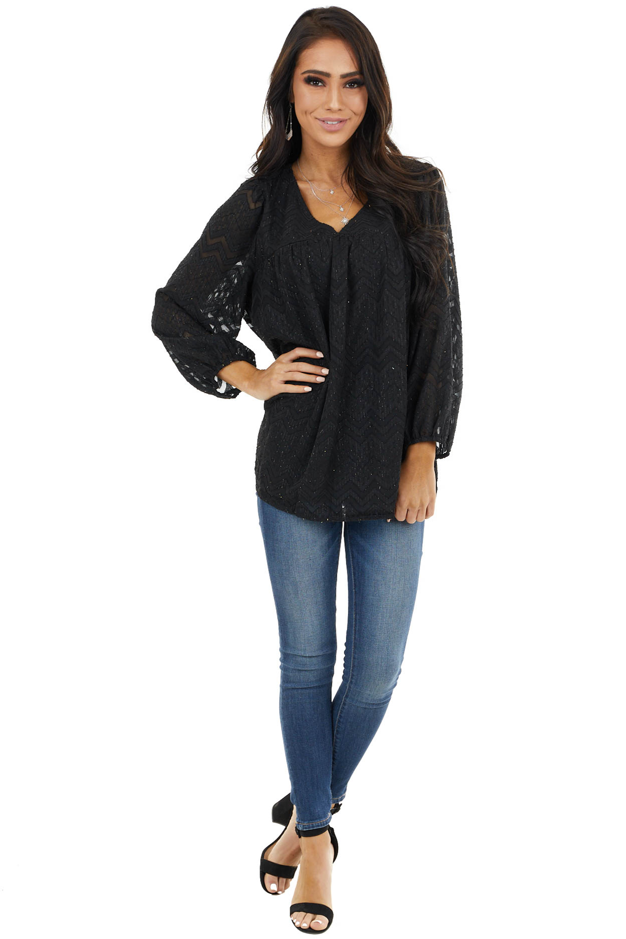 Black Lace Chevron Pattern Blouse with Bubble Sleeves