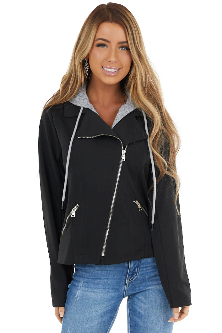 Black Moto Jacket with Hood and Zipper detail