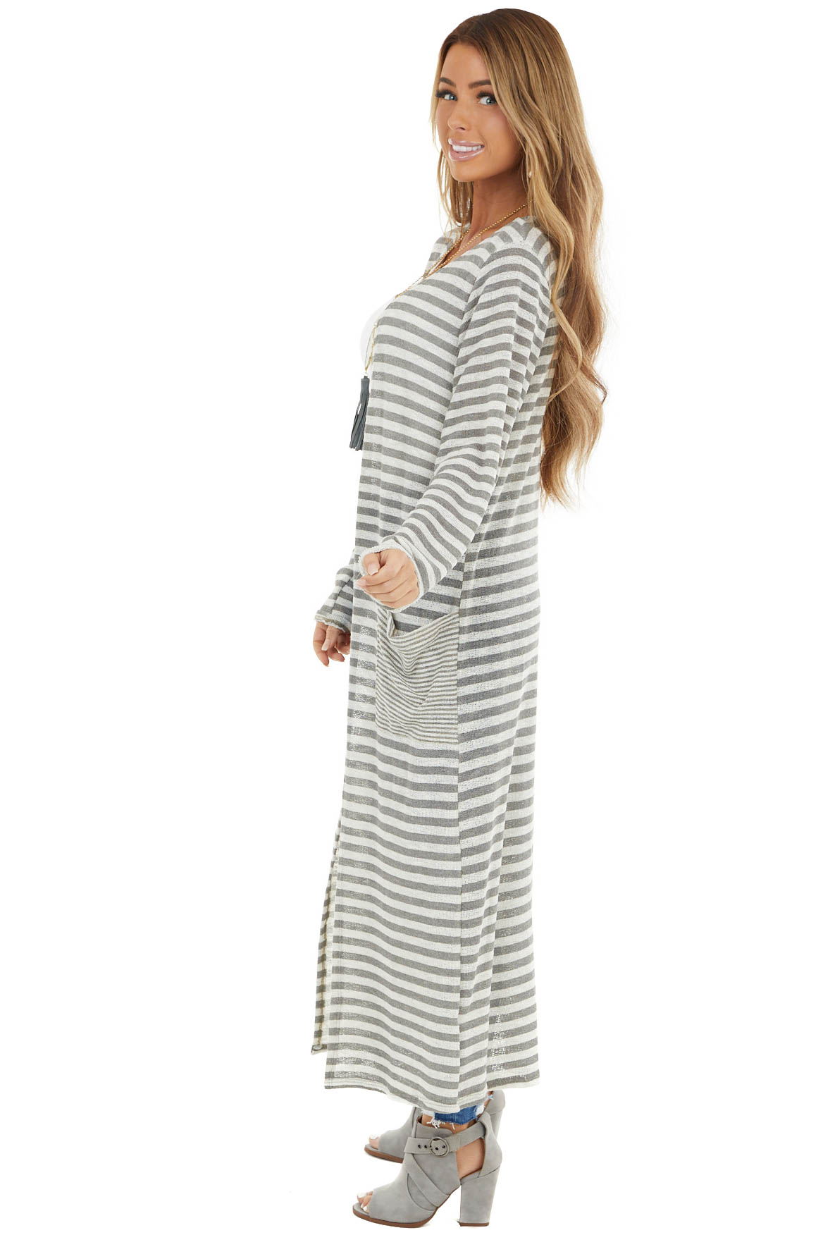White and Grey Striped Long Sleeve Duster Cardigan