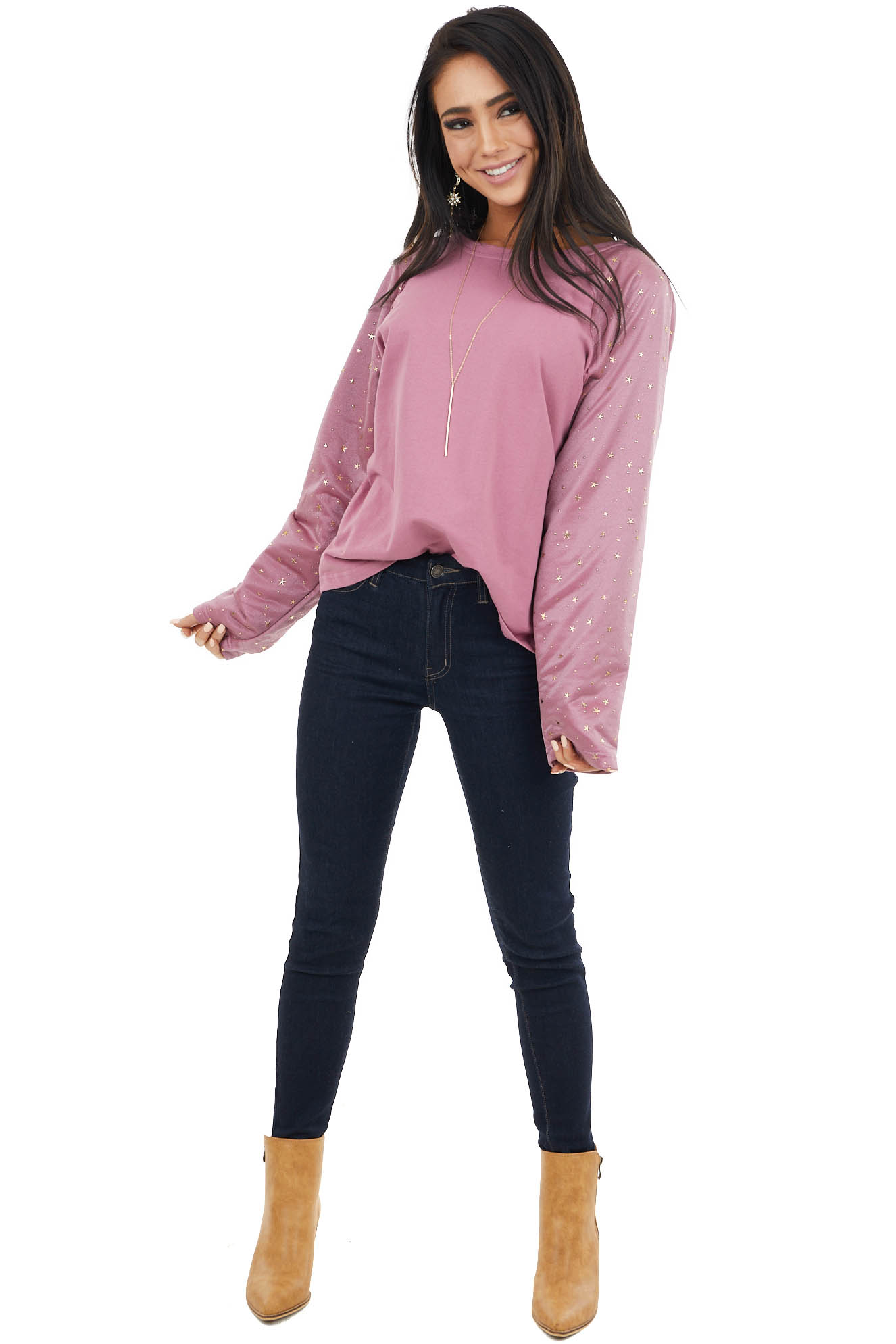 Berry Pink Top with Mesh Long Sleeves and Gold Star Details