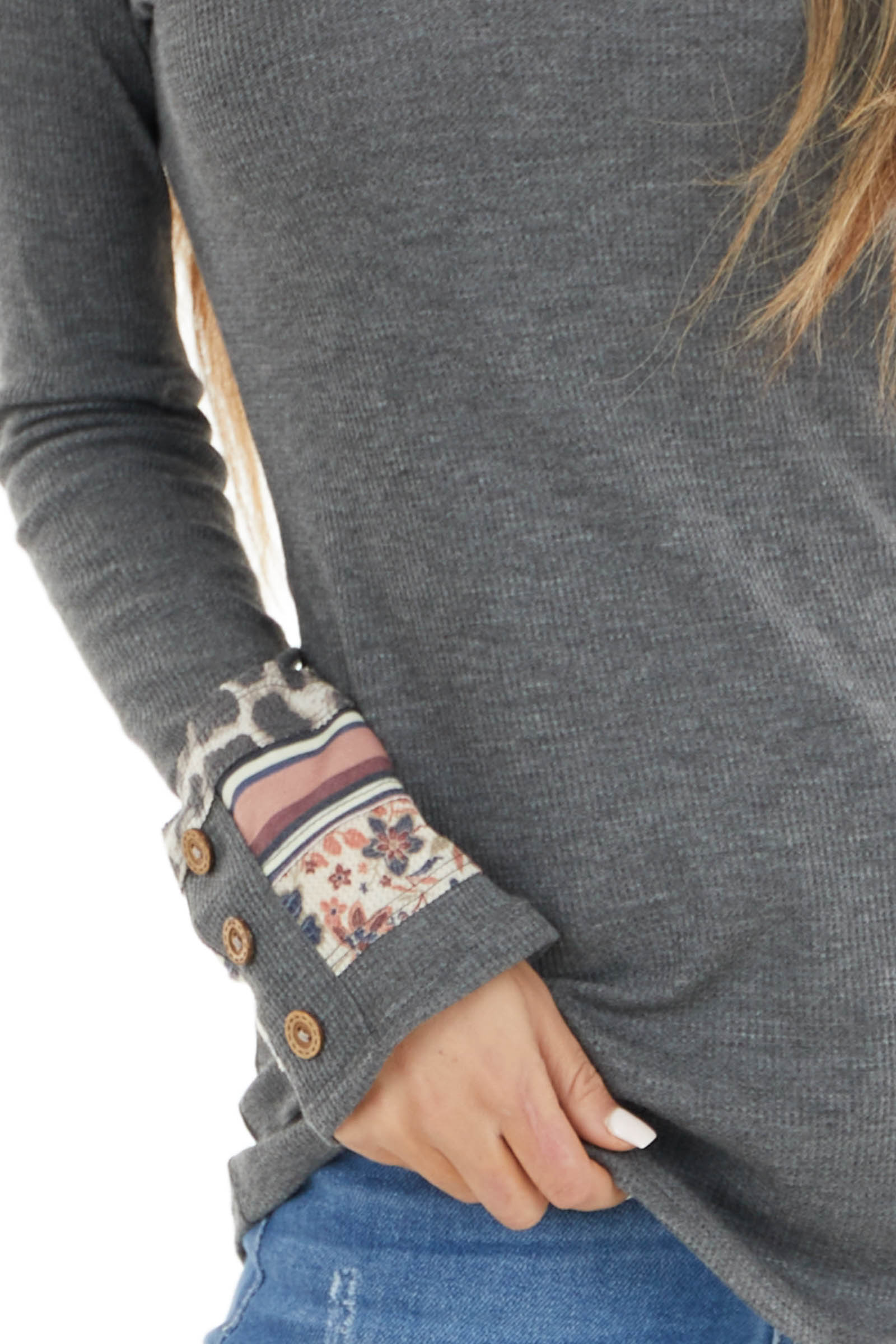 Stone Grey Waffle Knit Top with Multiprint Cuff Detail