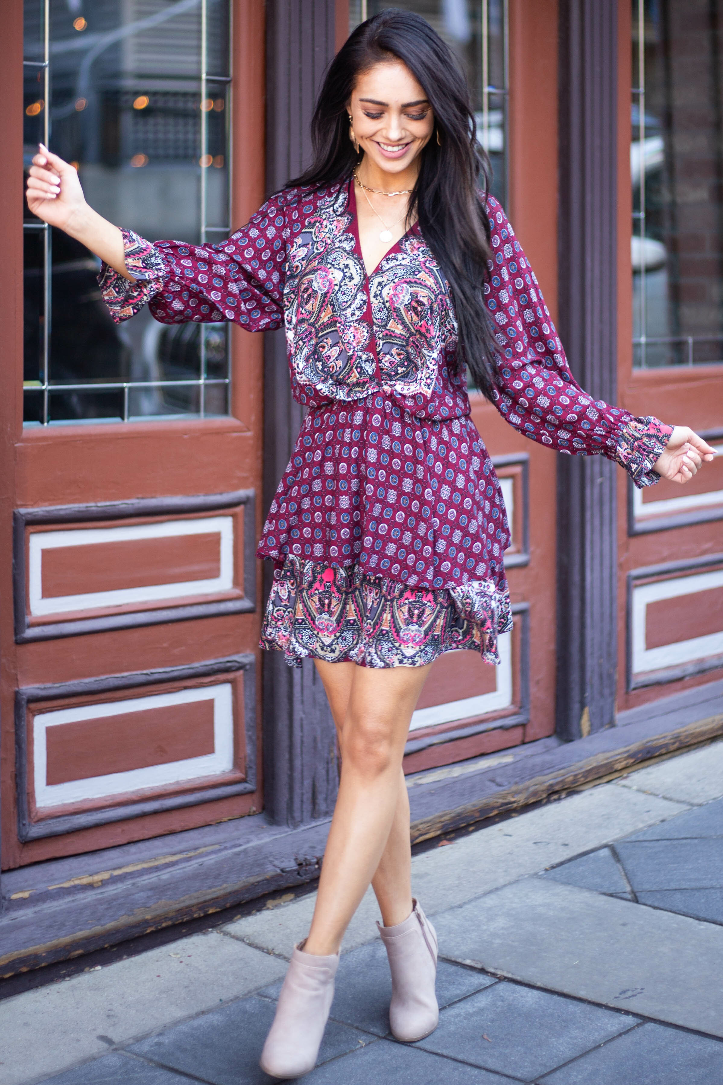 Wine Multiprint Surplice Long Sleeve Tiered Short Dress