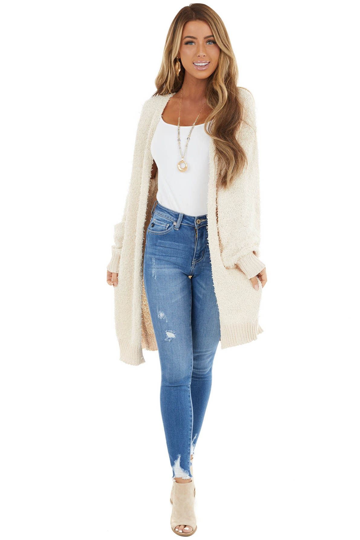 Cream Knit Open Front Cardigan with Pockets and Ribbed Hem