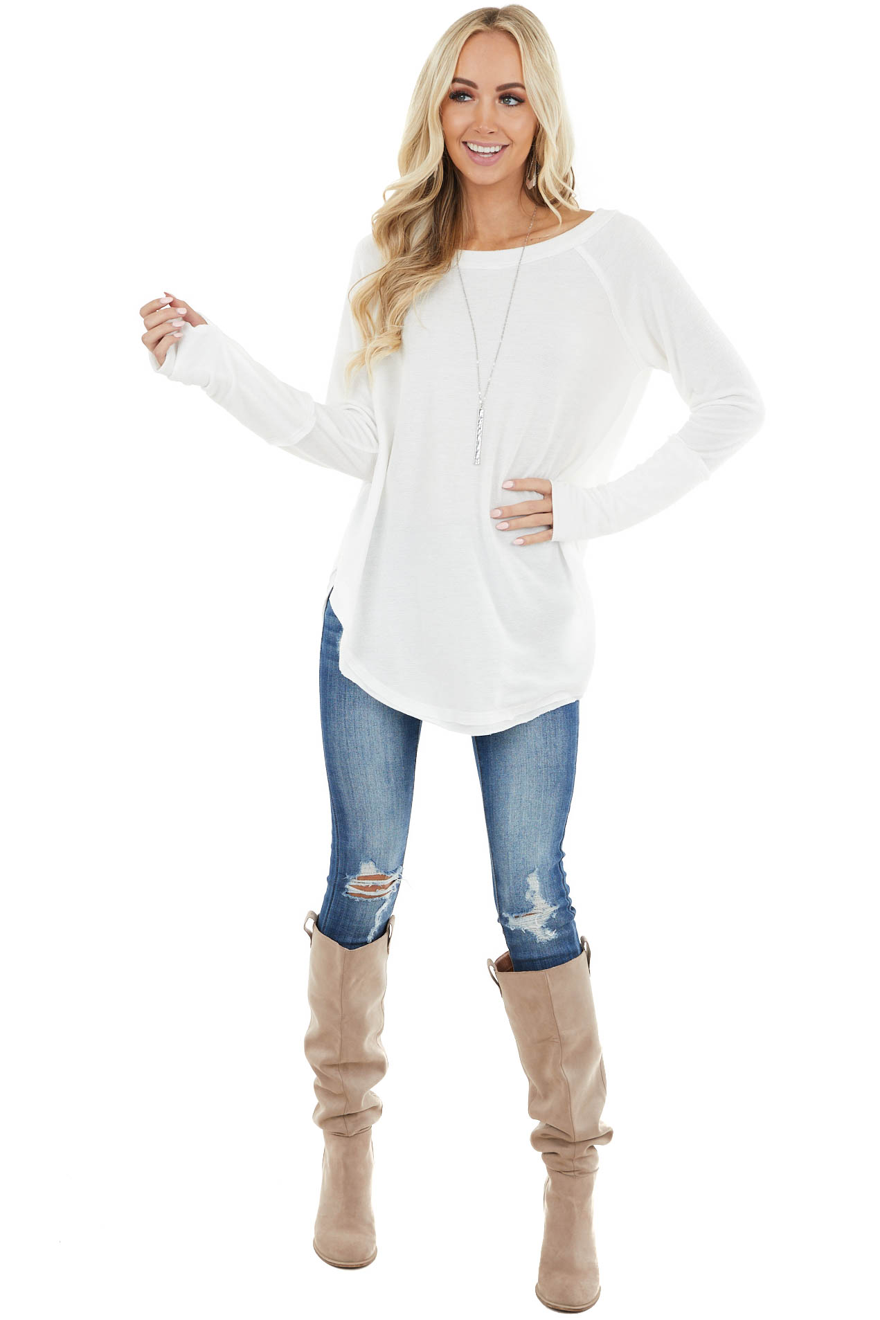 Ivory Long Sleeve Lightweight Top with Raw Edge Detail