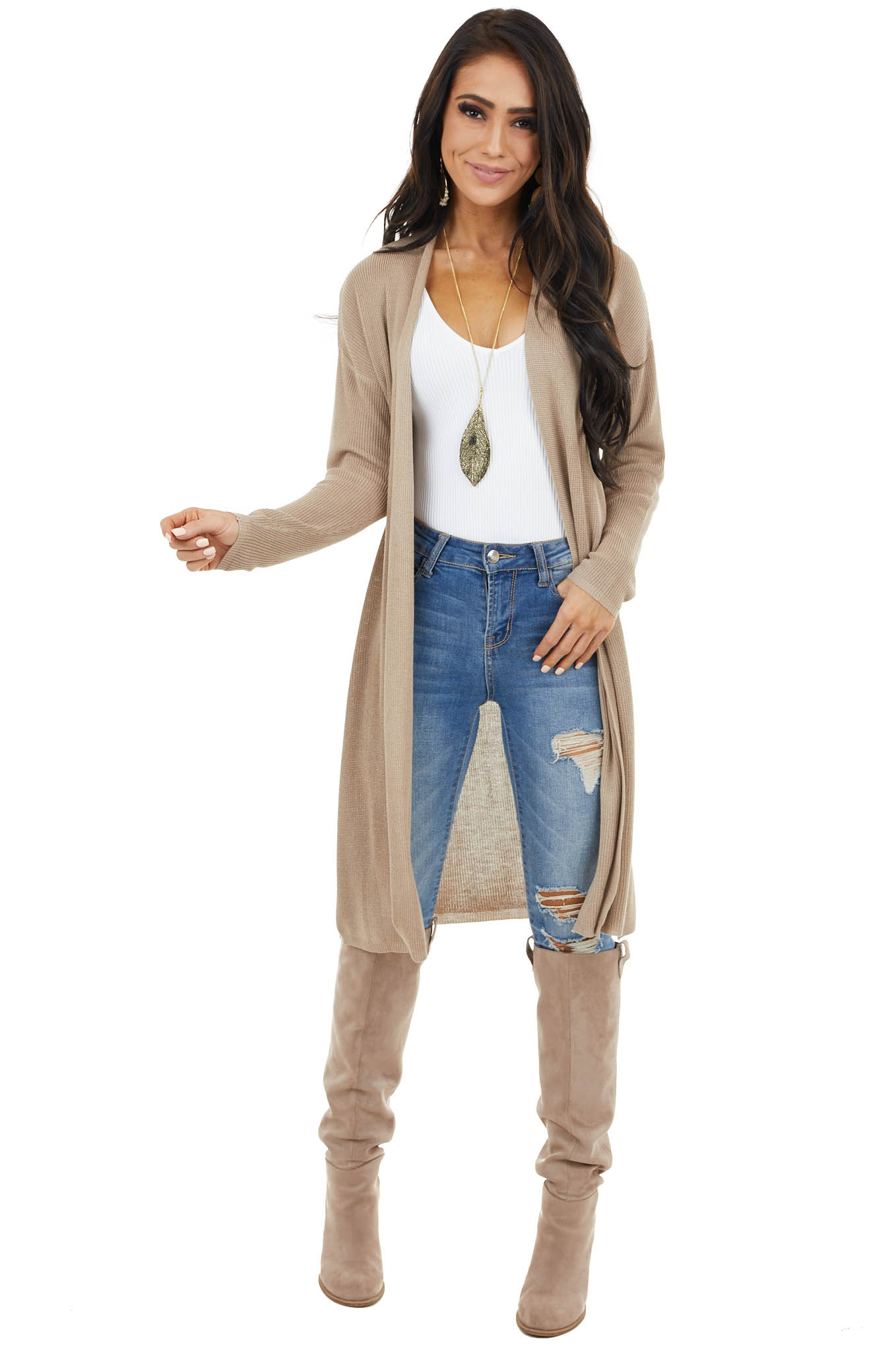 Latte Ribbed Knit Open Front Cardigan with Side Slits