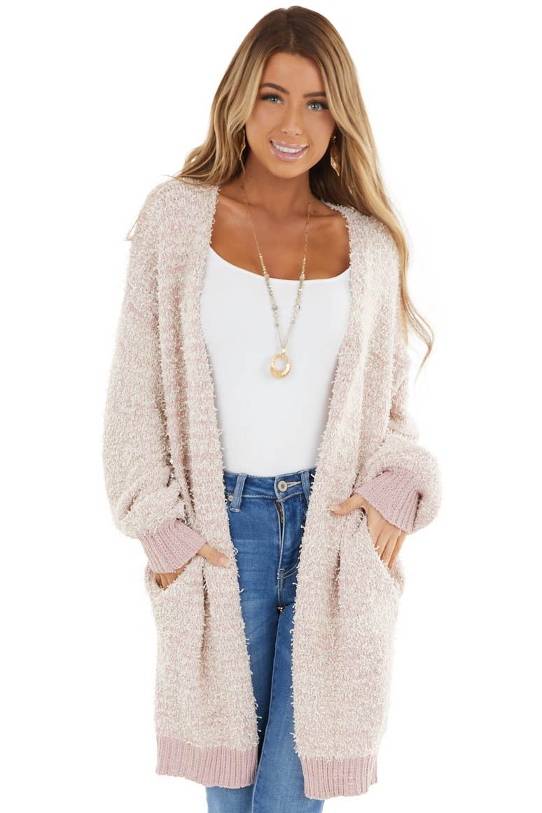 Blush Knit Open Front Cardigan with Pockets and Ribbed Hem
