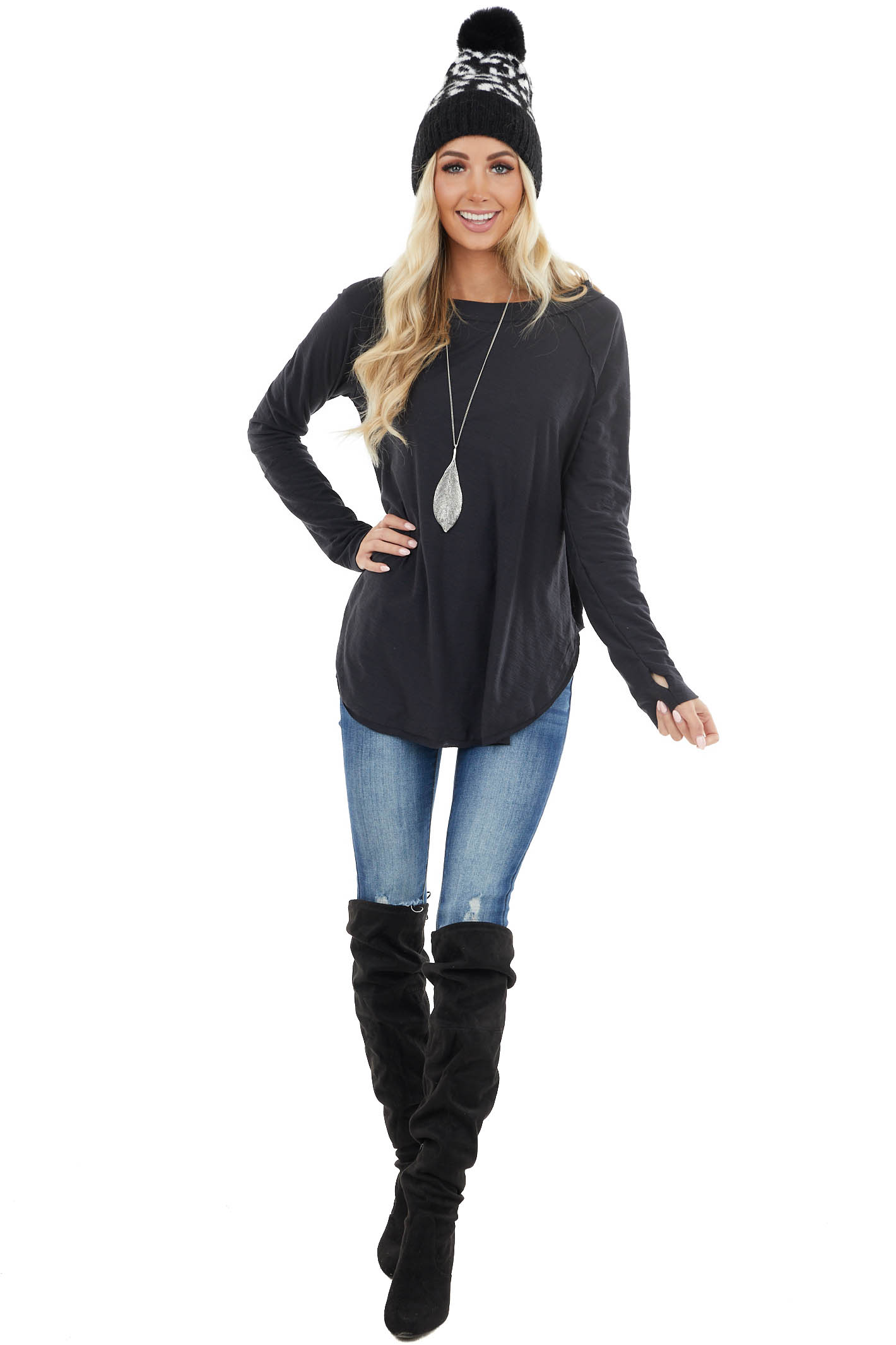 Black Long Sleeve Lightweight Top with Raw Edge Detail