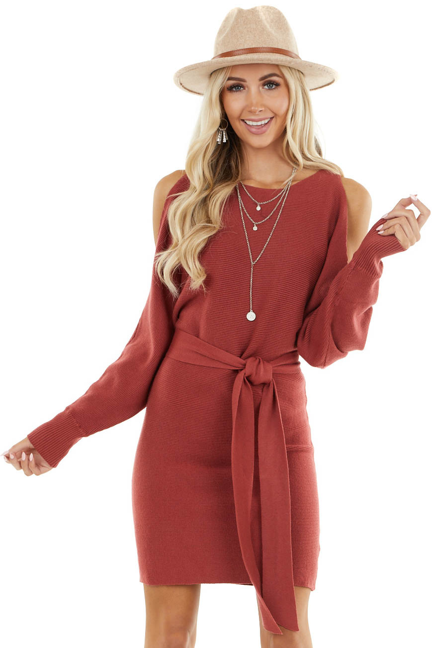 Dusty Maroon Long Dolman Sleeve Dress with Cold Shoulder