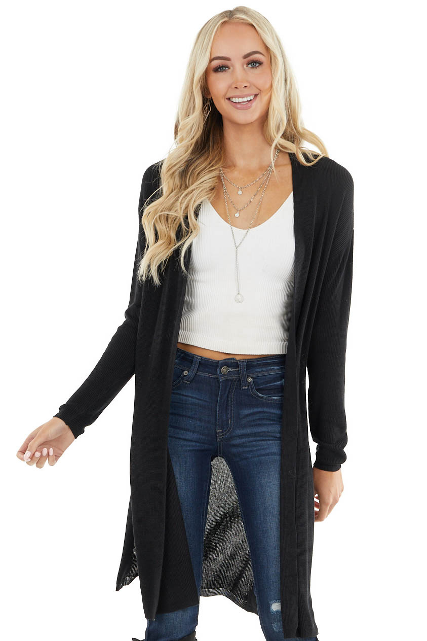 Black Ribbed Knit Open Front Cardigan with Side Slits