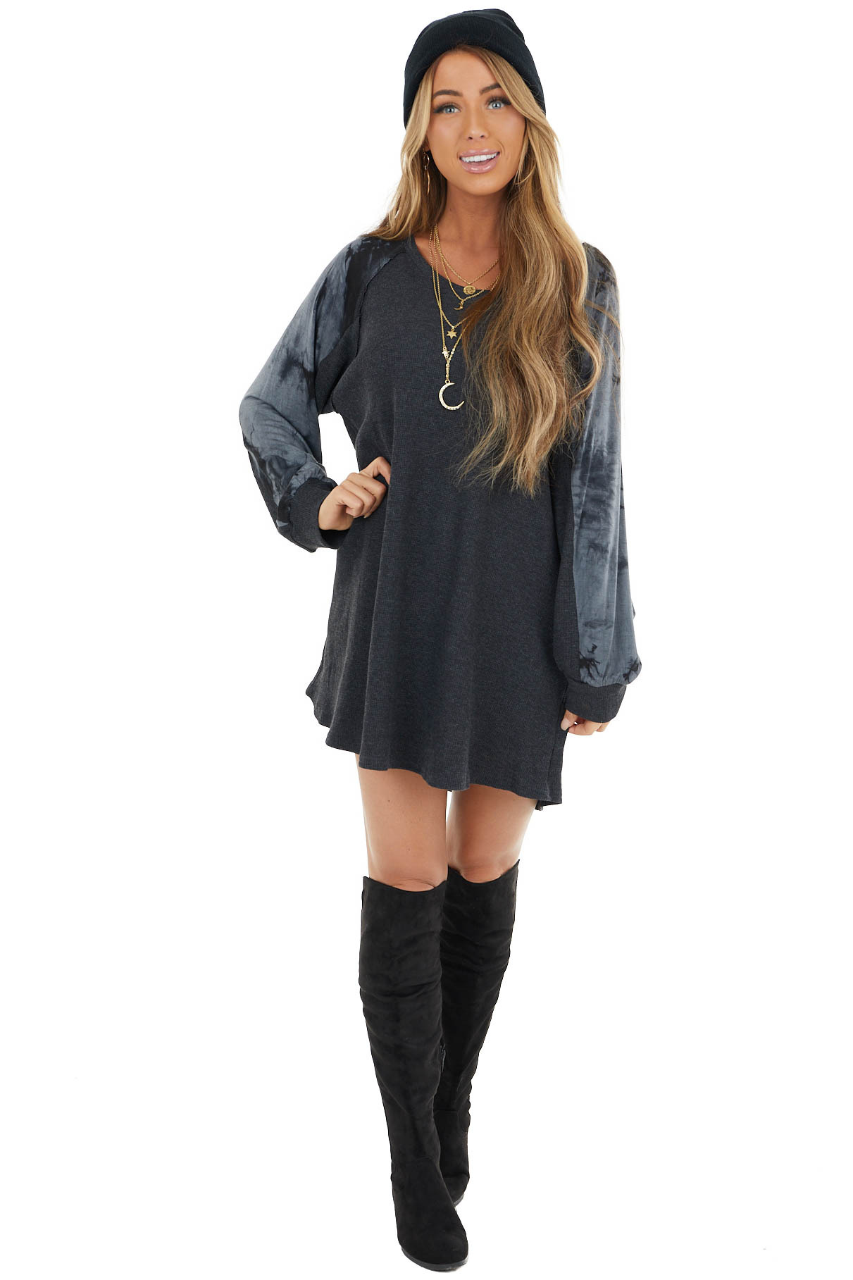 Charcoal Waffle Knit Long Sleeve Dress with Tie Dye Detail