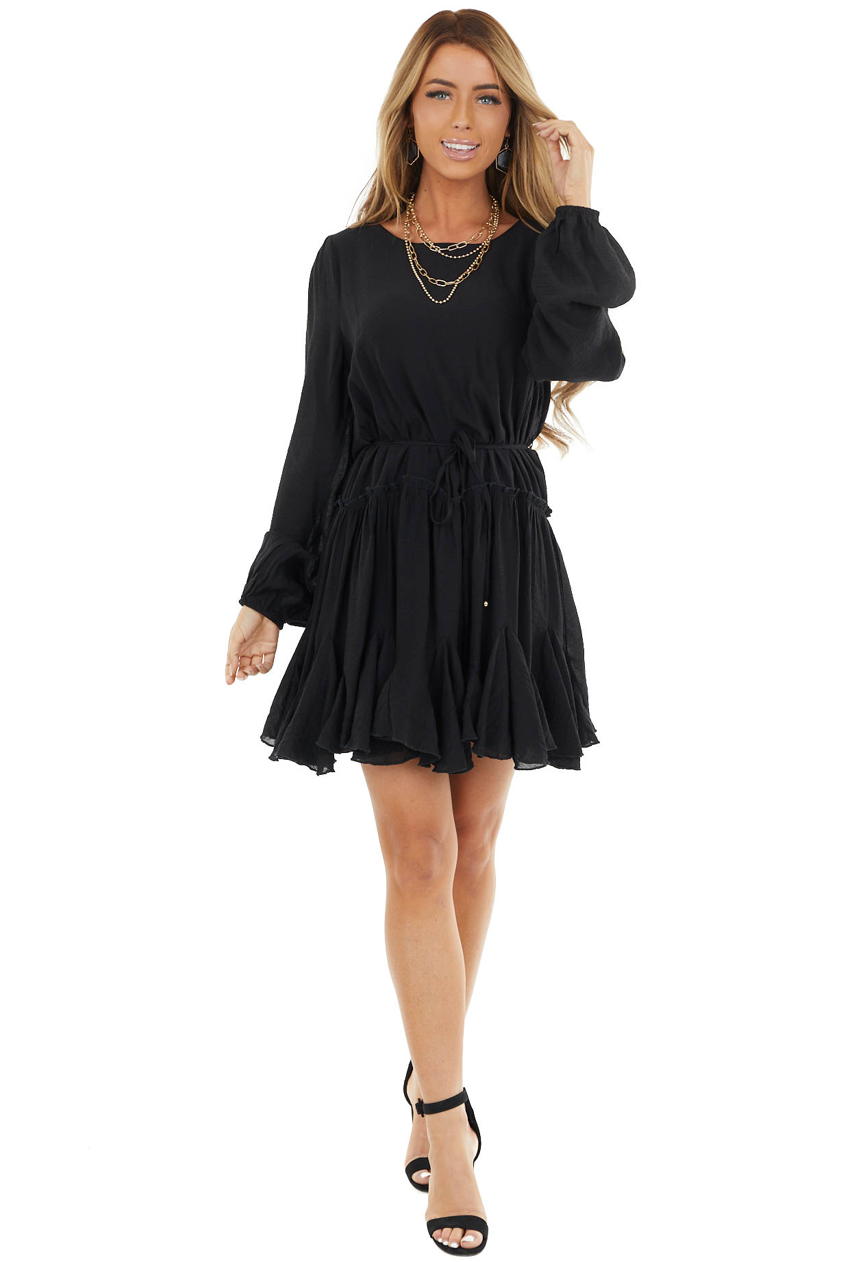 Black Long Sleeve Dress with Waist Tie and Ruffle Details