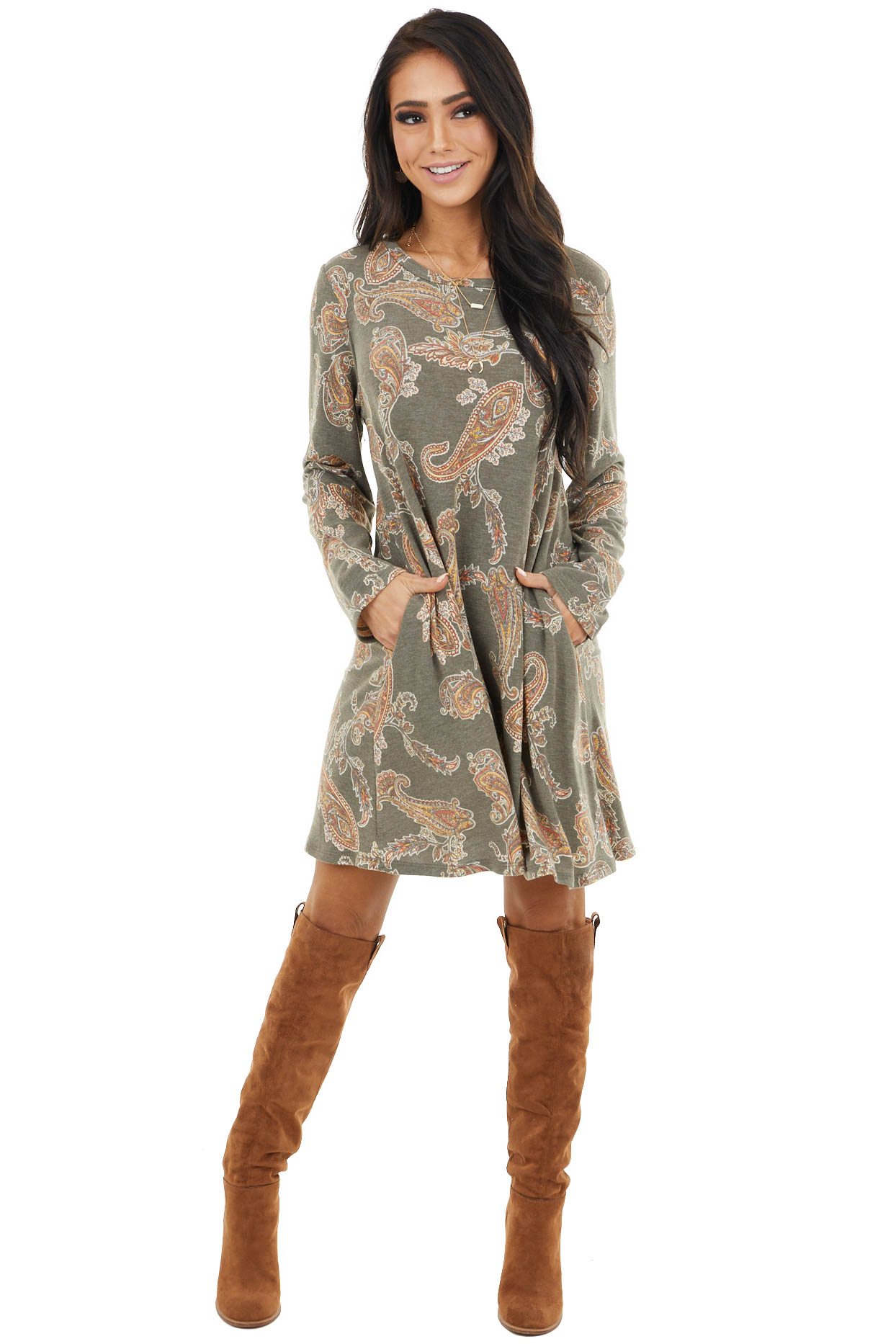 Olive Paisley Print Long Sleeve Swing Dress with Pockets