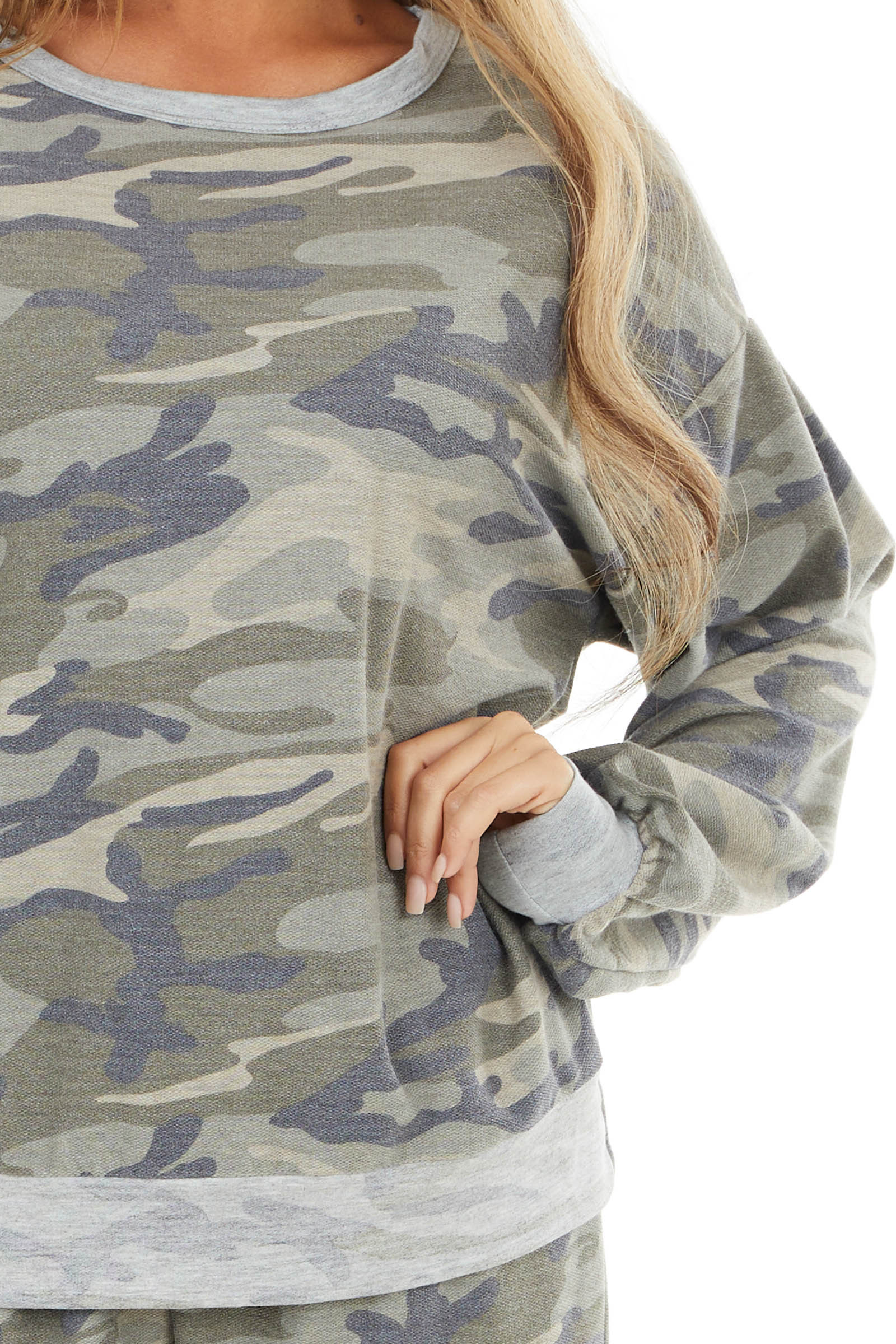 Sage Green Camo Long Sleeve Knit Top with Dove Details