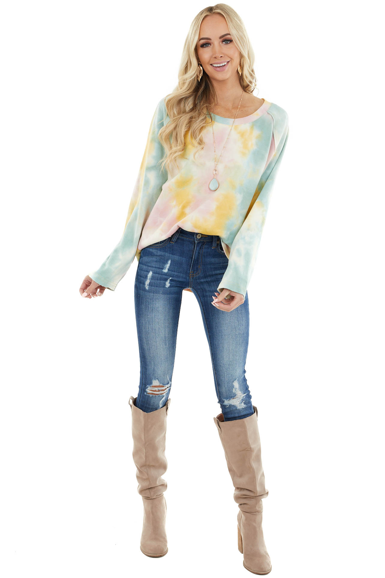 Straw Yellow and Dusty Teal Long Sleeve Tie Dye Top