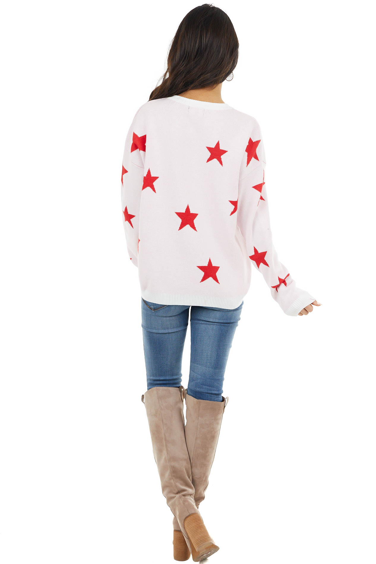 Ivory and Cranberry Star Print Stretchy Knit Long Sleeve Top