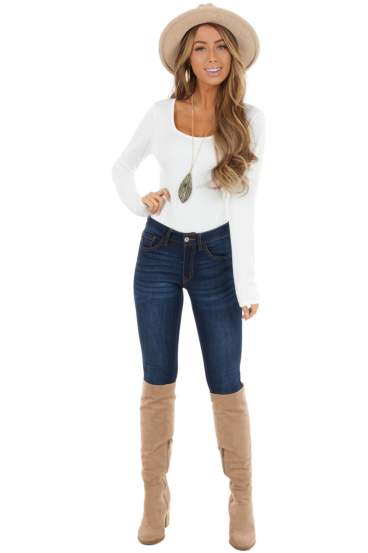 Off White Knit Long Sleeve Bodysuit with Wide Round Neckline