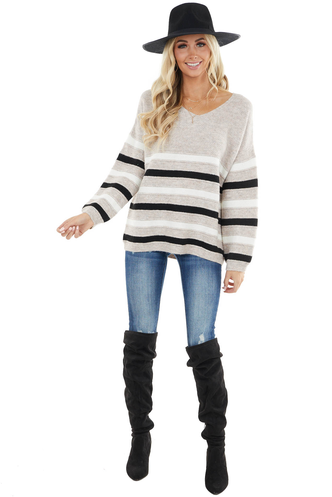 Oatmeal Soft Long Sleeve Sweater with Striped Detail