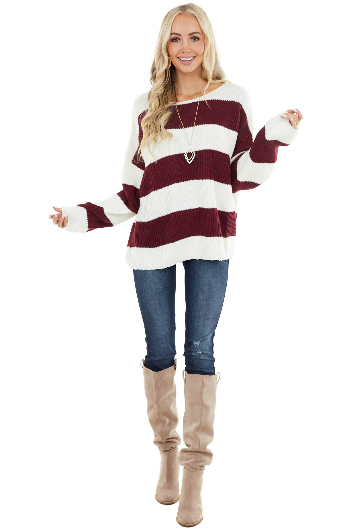 Ivory and Wine Striped Sweater with Distressed Hem Details