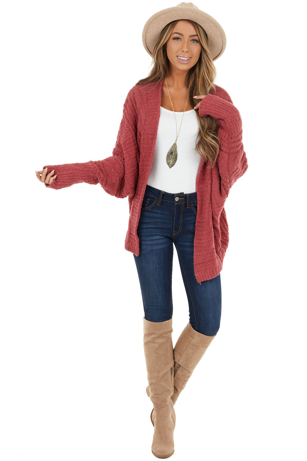 Maroon Fuzzy Knit Open Front Cardigan with Long Sleeves