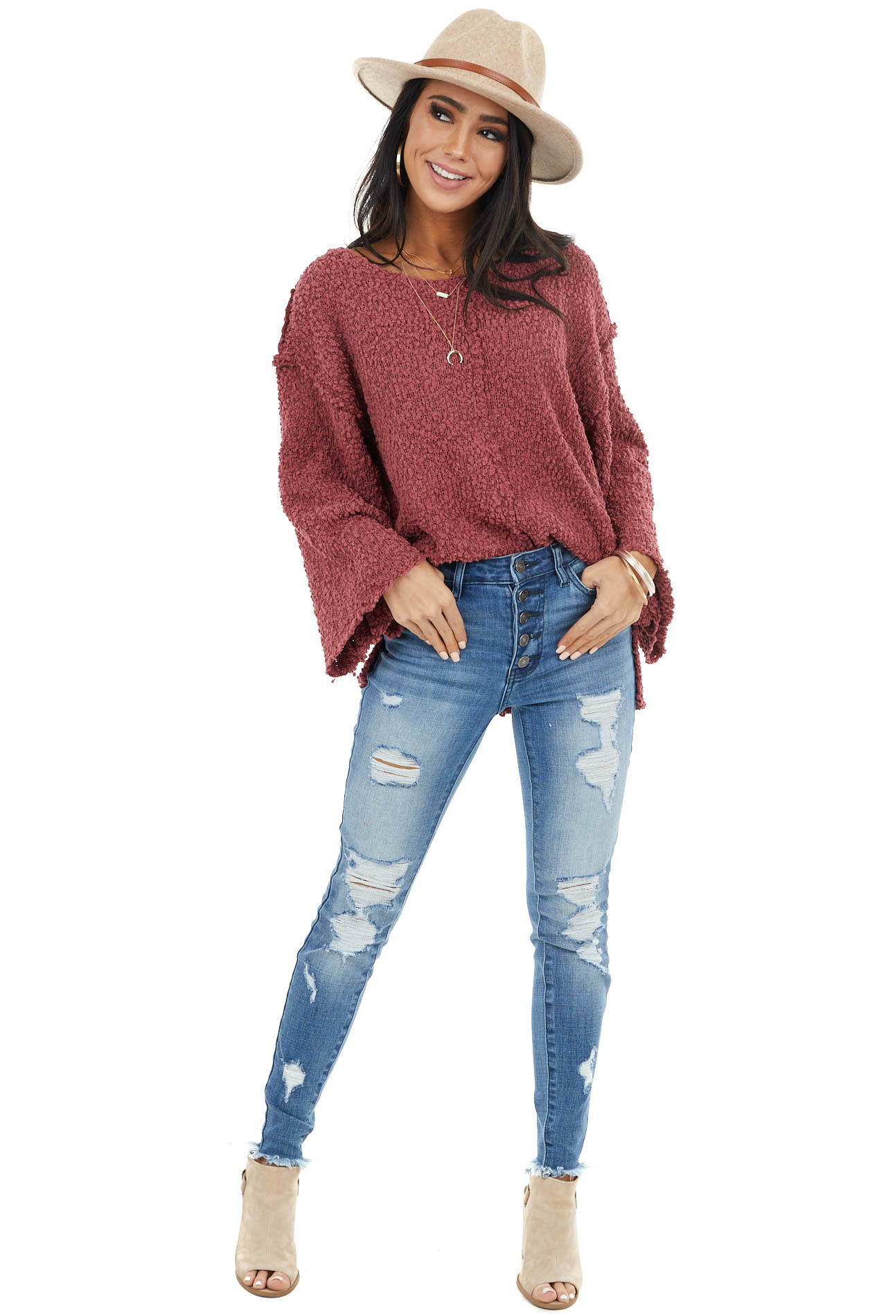 Marsala Knit Lightweight Sweater with Side Slit Details