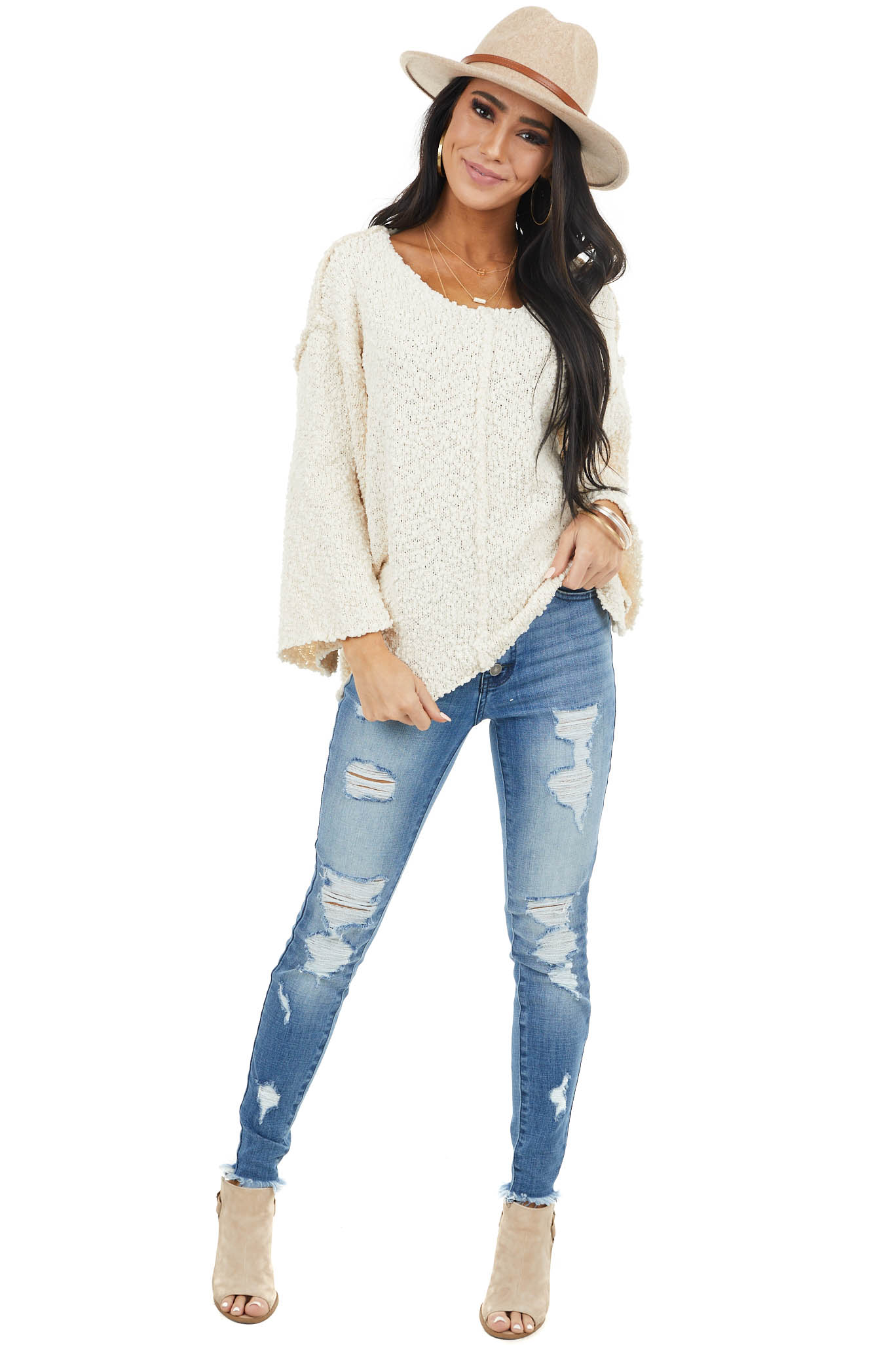 Cream Knit Lightweight Sweater with Side Slit Details