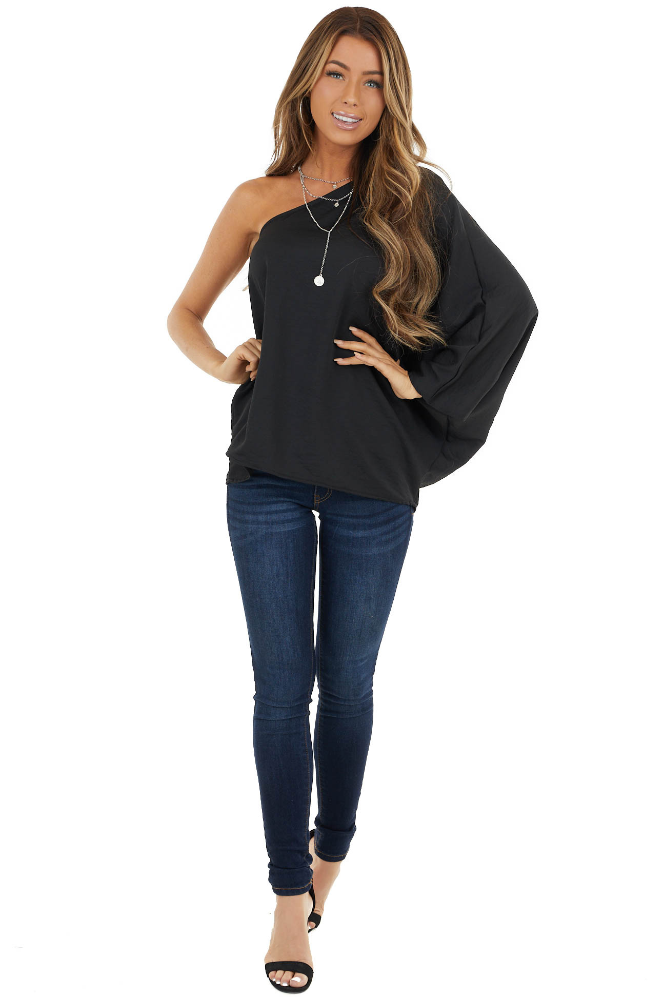 Black One Shoulder Woven Top with Long Dolman Sleeve
