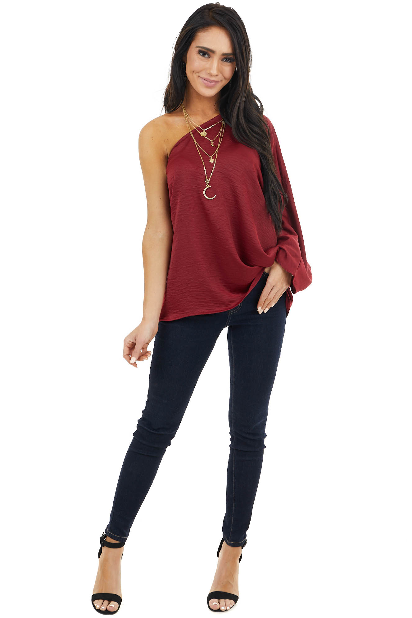 Burgundy One Shoulder Woven Top with Long Dolman Sleeve
