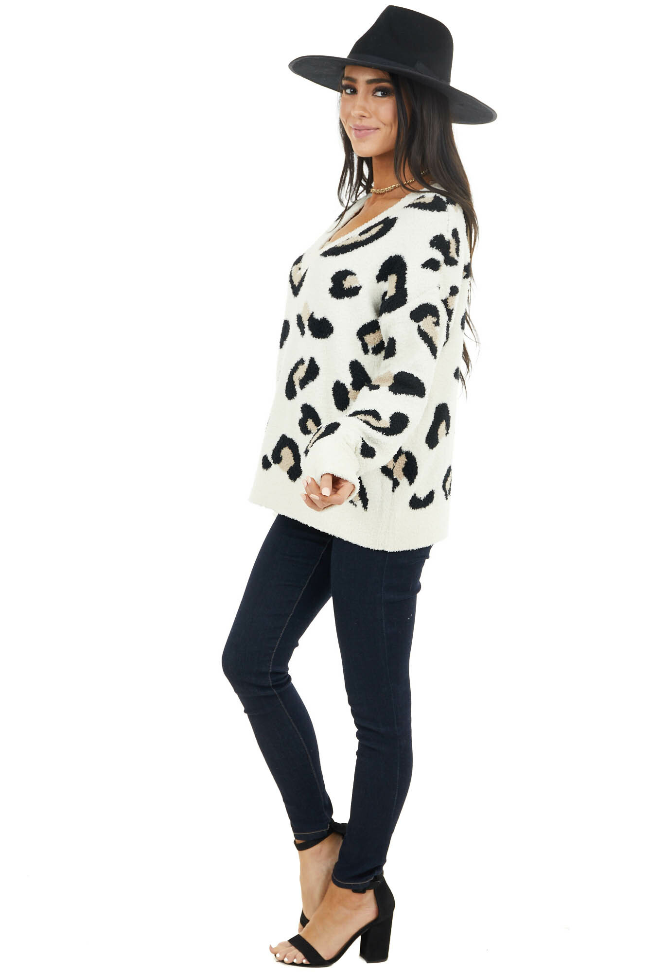 Cream Leopard Print Super Soft Long Sleeve Thick Sweater