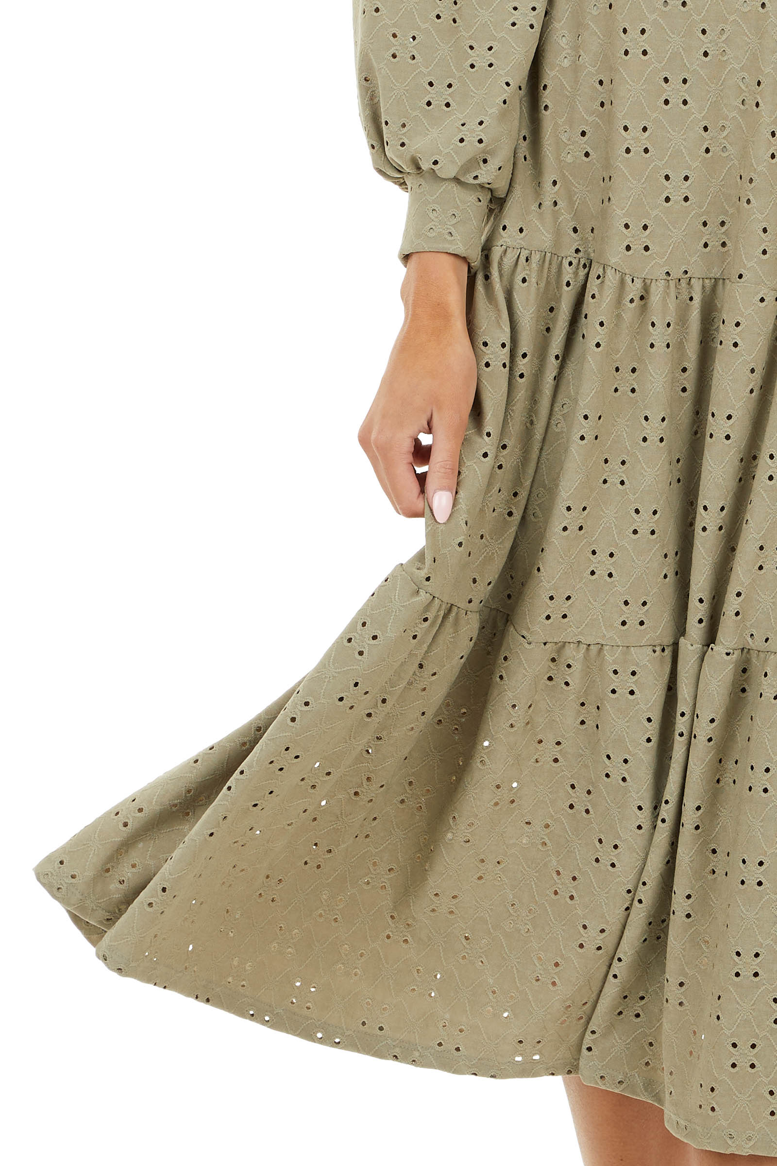 Sage Eyelet Lace Drop Waist Midi Dress with Tiered Ruffles