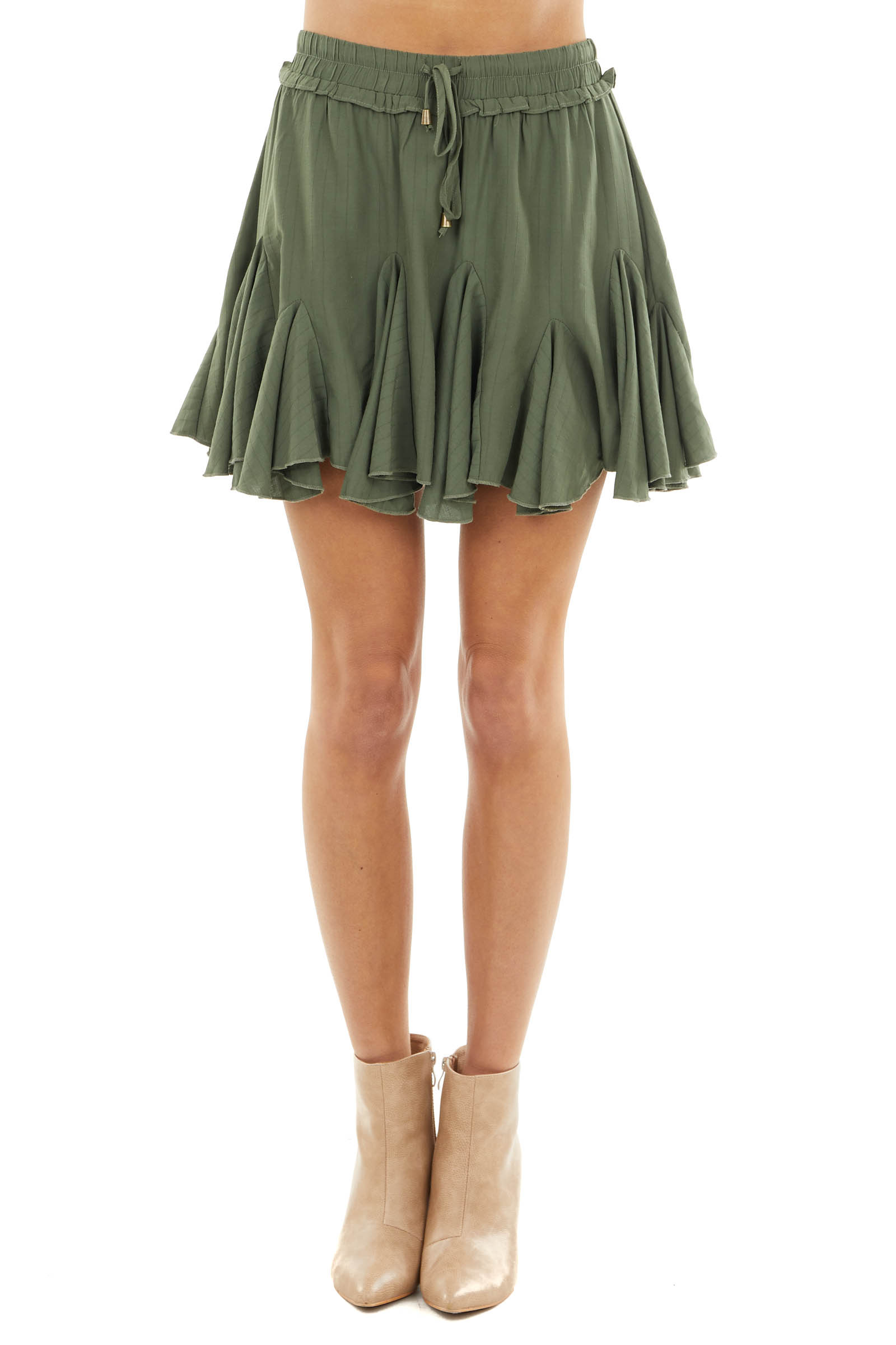 Olive Ruffled Mini Skirt with Elastic Waistband and Tie