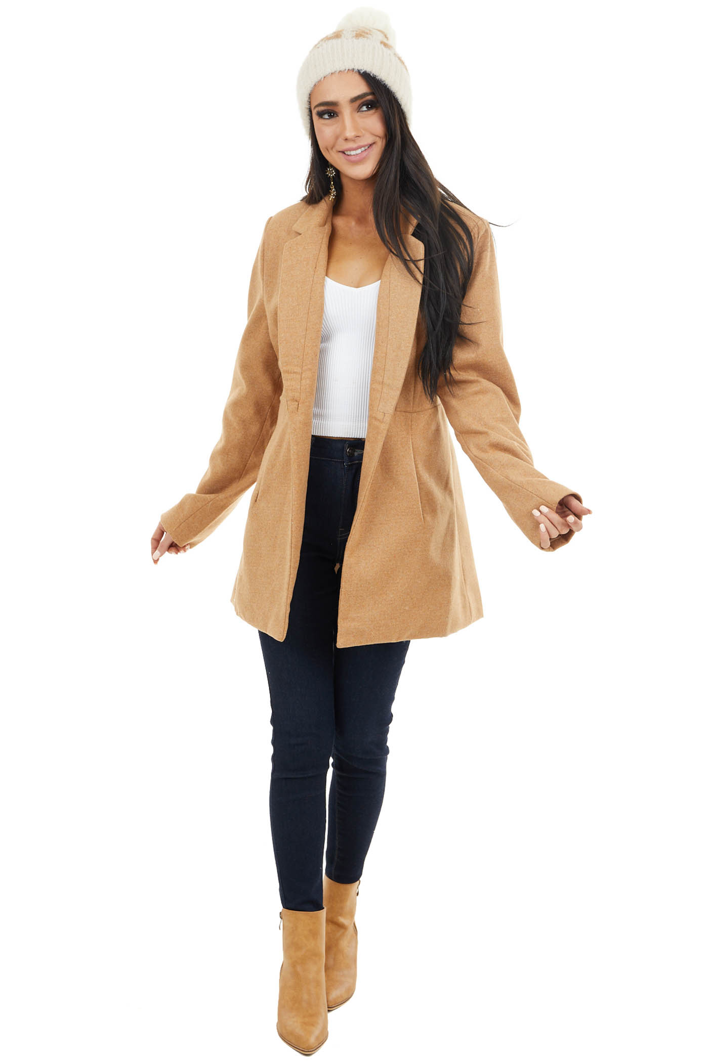 Camel Long Sleeve Open Front Jacket with Side Pockets