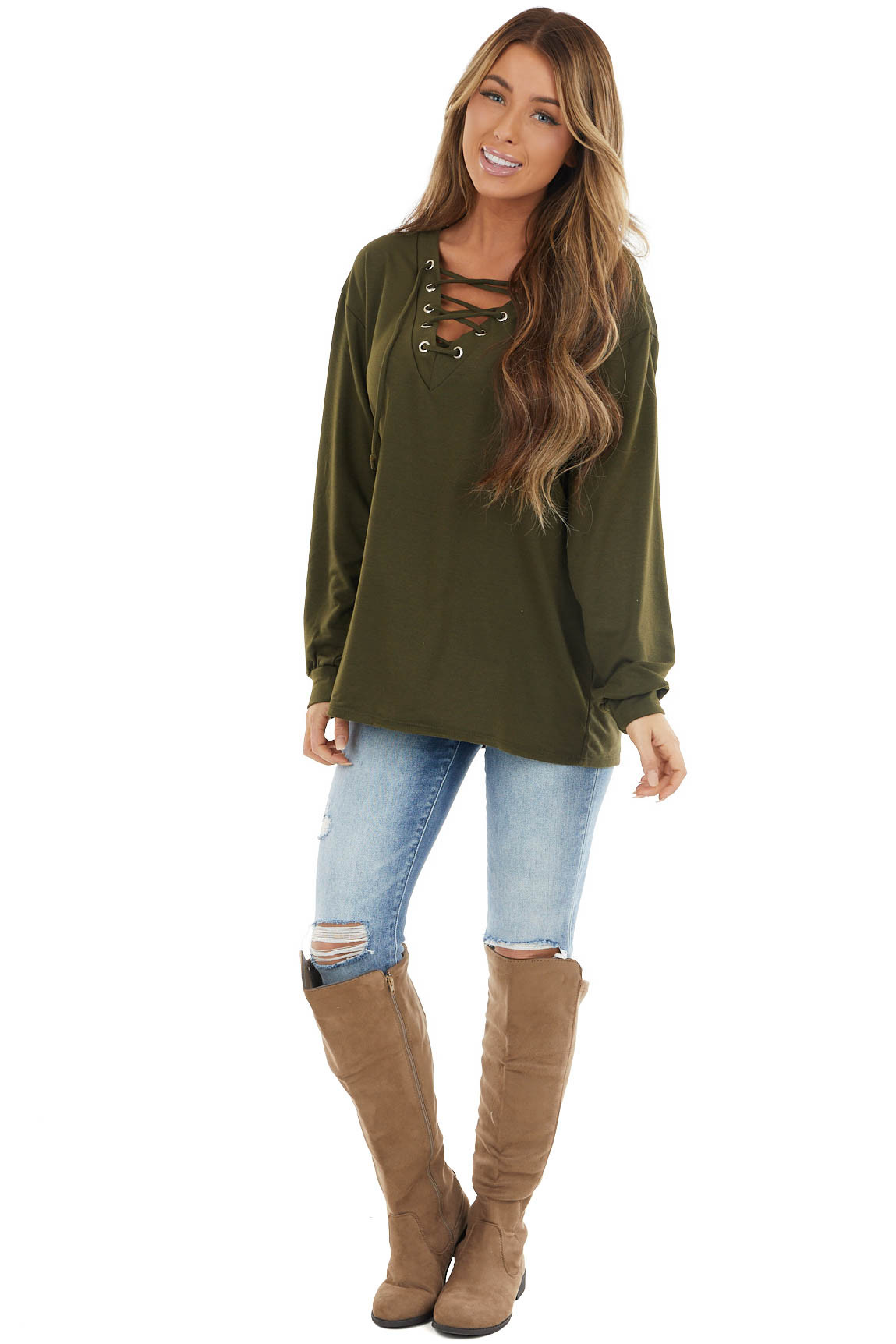 Olive Green Long Sleeve Knit Top with Lace Up V Neck Detail