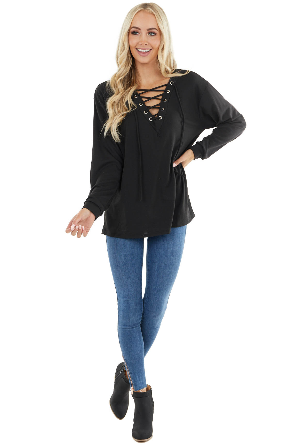 Black Long Sleeve Knit Top with Lace Up V Neck Detail