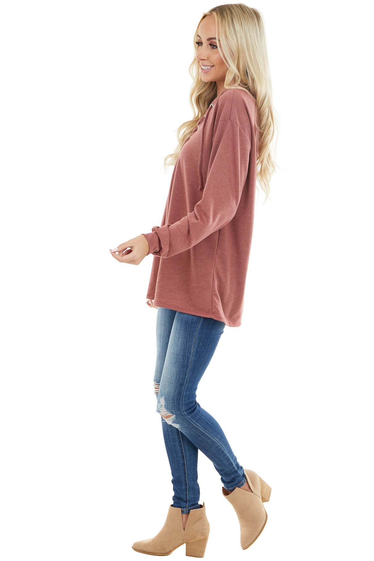 Marsala Long Sleeve Knit Top with Lace Up V Neck Detail