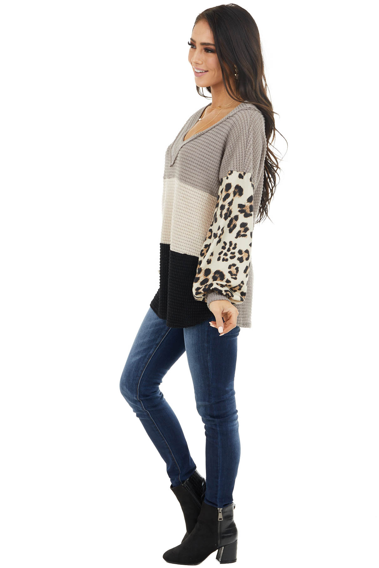 Taupe Colorblock Top with Contrast Leopard Print Sleeves