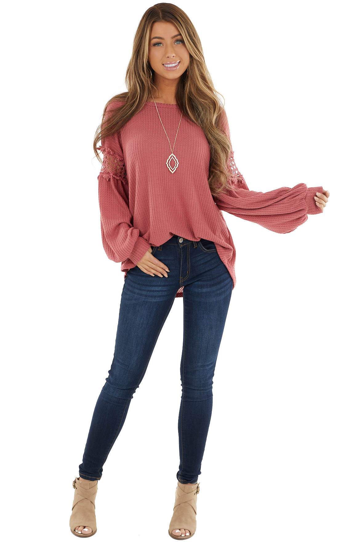 Marsala Waffle Knit Top with Crochet Peekaboo Sleeves