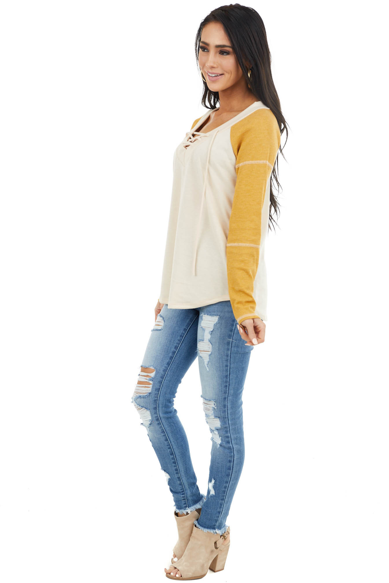Light Latte Long Sleeve Top with Mustard Contrast Sleeves