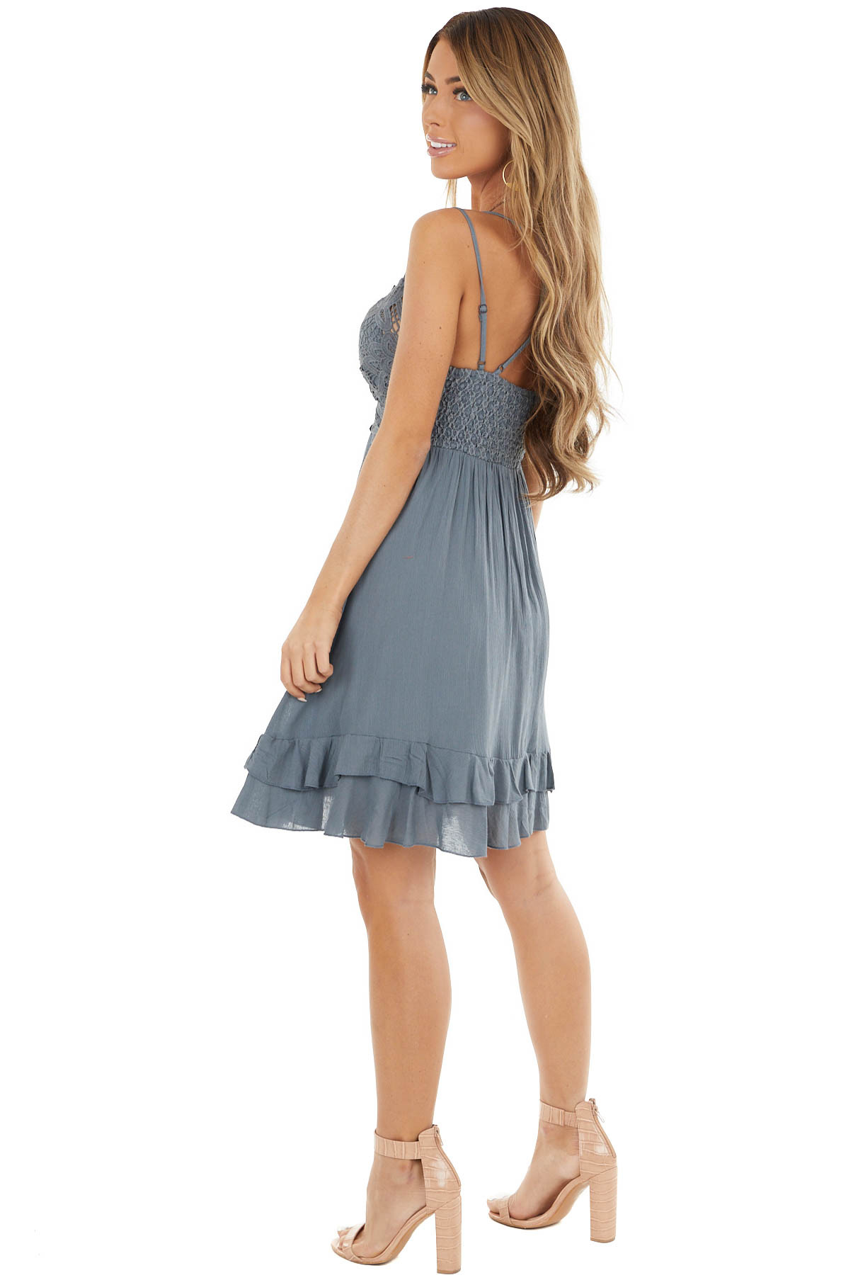 Stone Grey Crochet Lace Babydoll Dress with Tiered Ruffle
