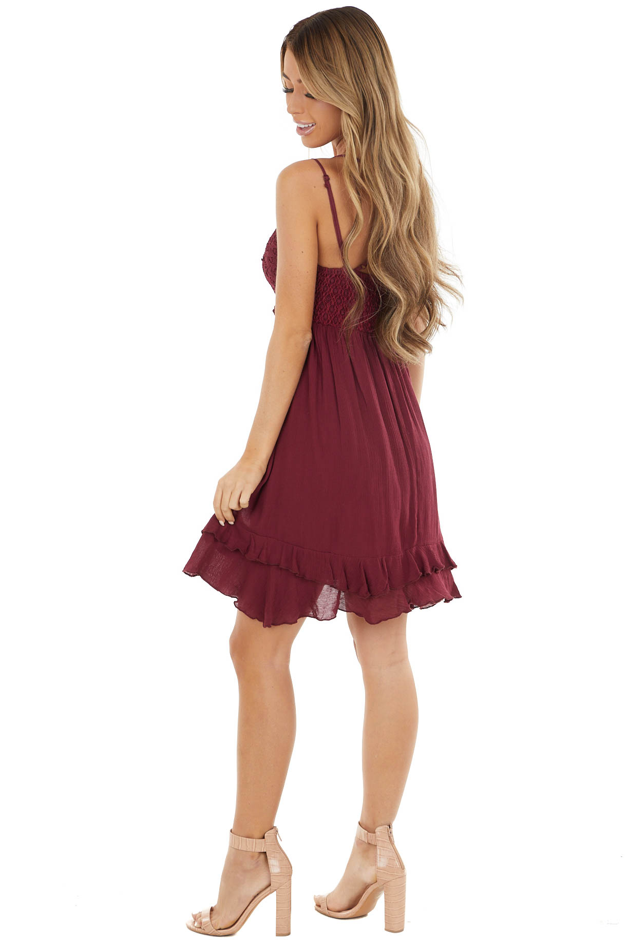 Maroon Crochet Lace Babydoll Dress with Tiered Ruffle
