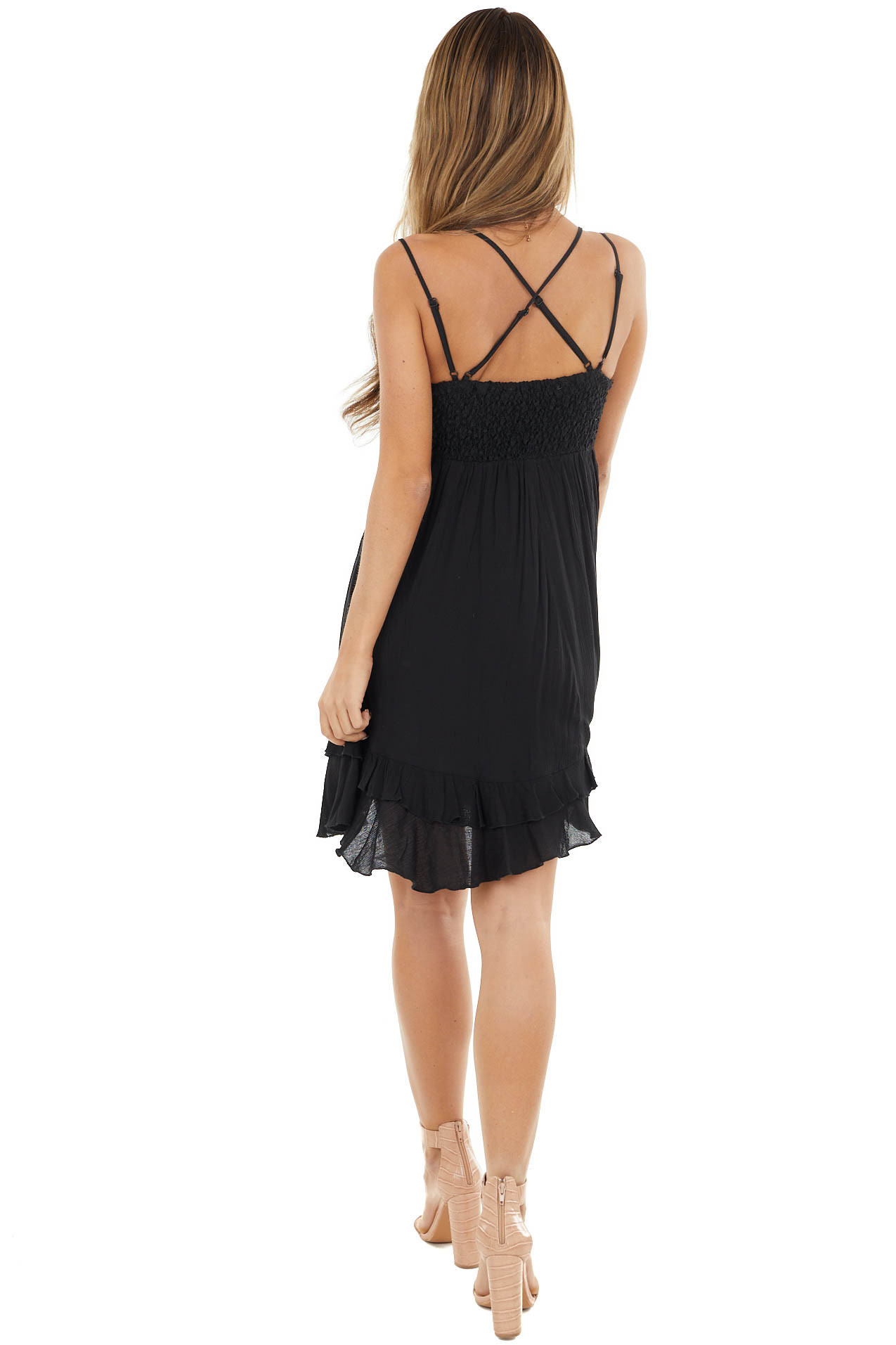 Black Crochet Lace Babydoll Dress with Tiered Ruffle