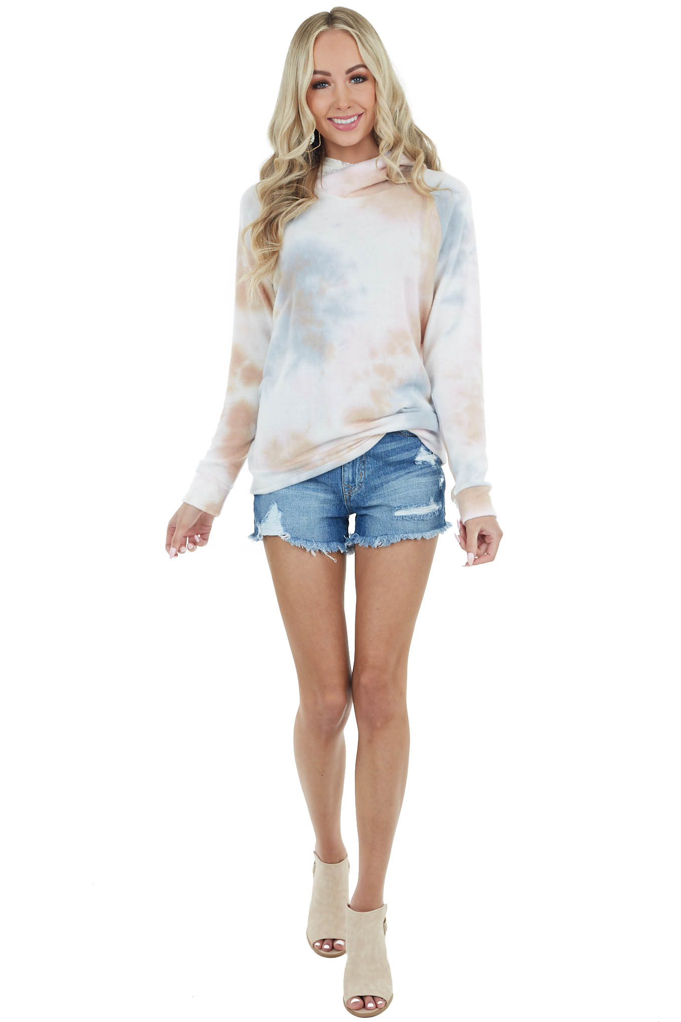 Taupe Tie Dye Soft Knit Hoodie with Lace Hood Detail