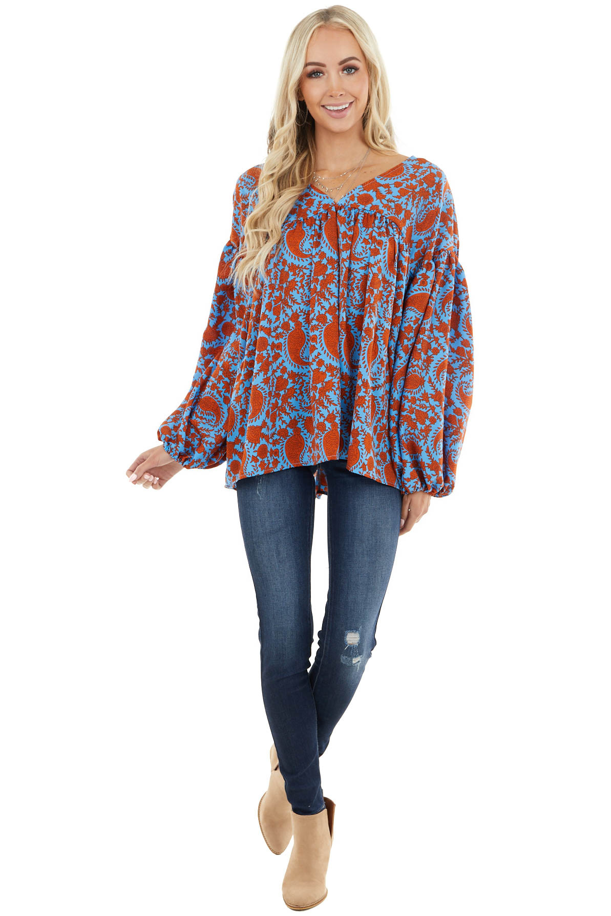 Dusty Blue and Rust Paisley Print Top with Bubble Sleeves